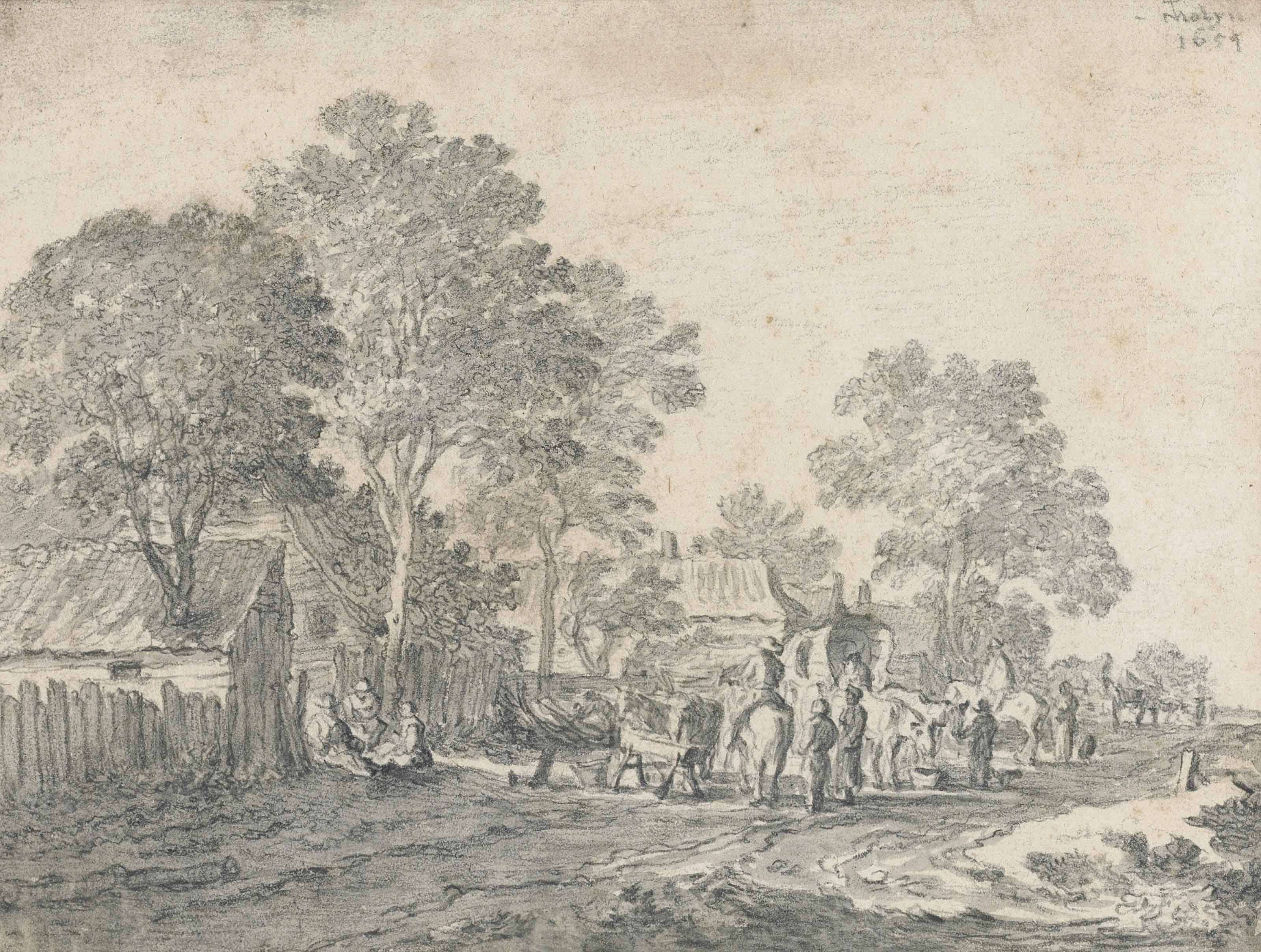 Horsemen and wagon-drivers resting in a village