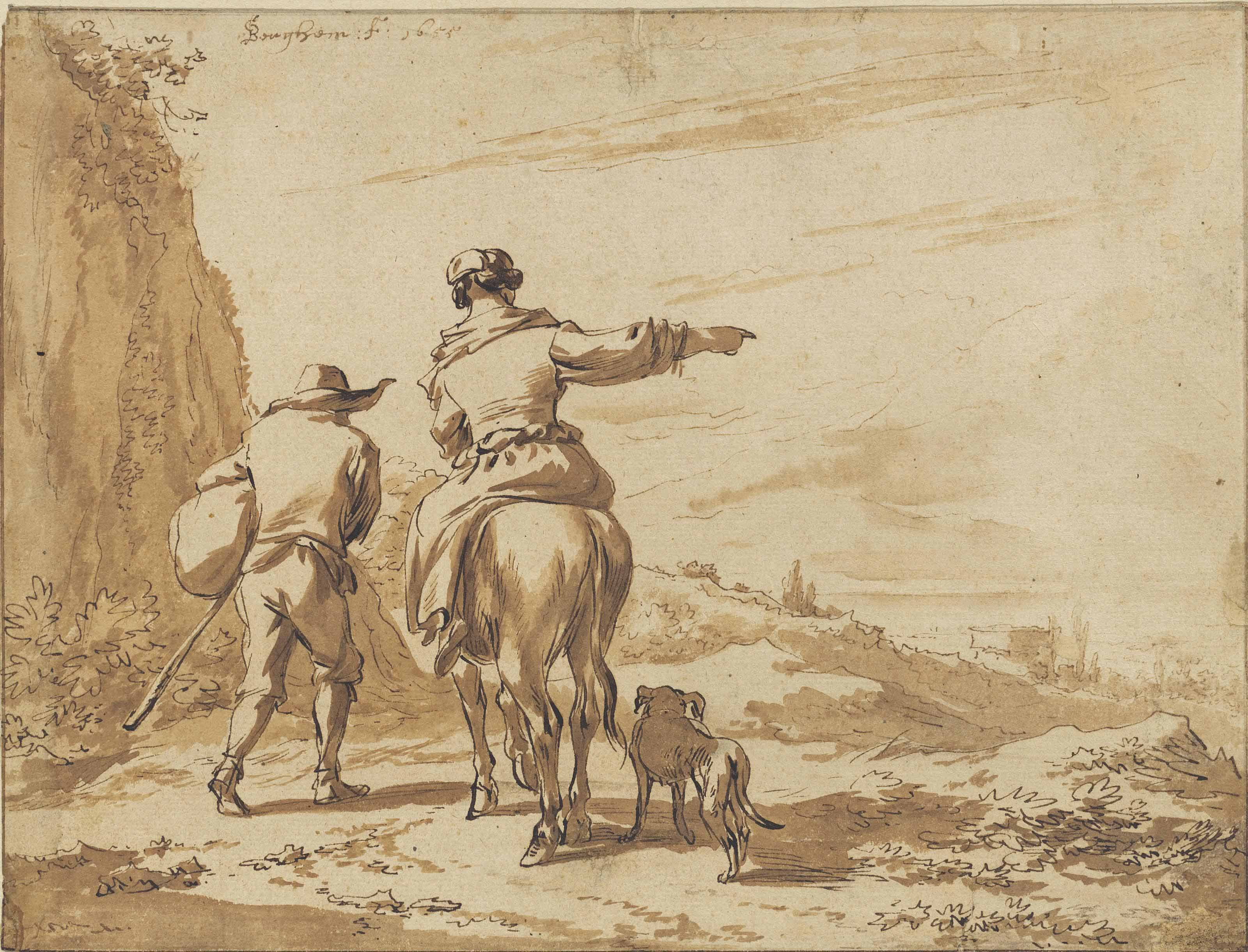 Herdsmen in an Italianate landscape with a tower