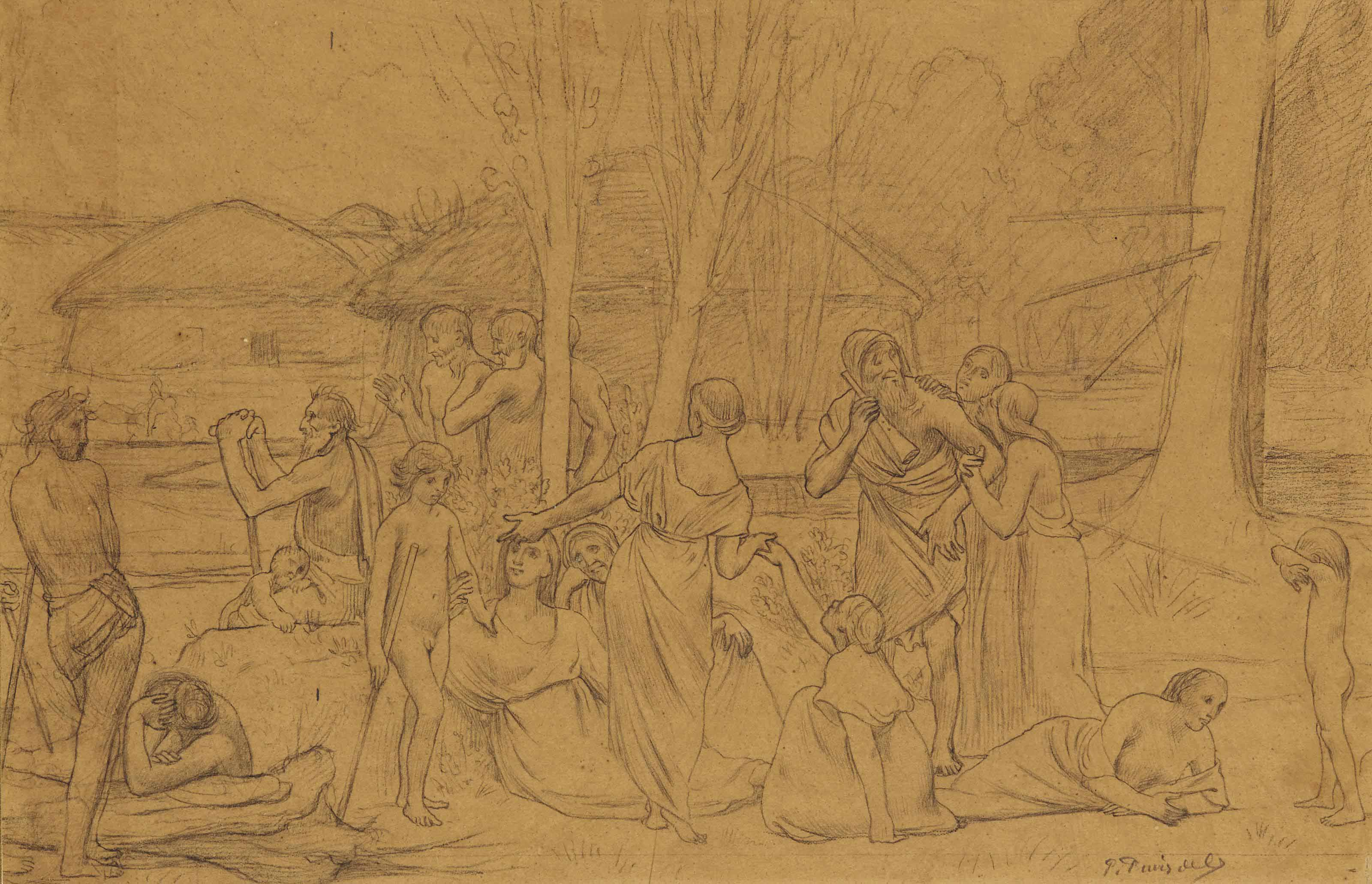 Study for Ludus pro patria: A group of figures in classical costume gathered beside a river