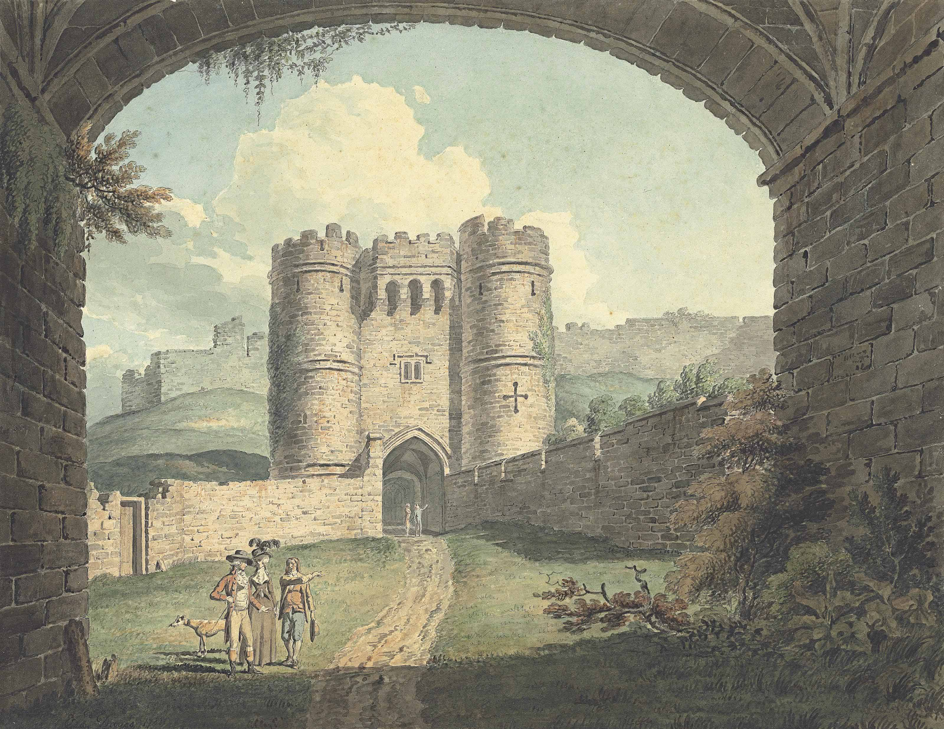 Carisbrooke Castle, Isle of Wight, seen through an archway, with elegant figures in the foreground