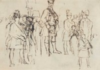 Five figure studies: possibly George IV in Highland Dress (illustrated), with a study of dancing figures (verso); and four various studies mounted together