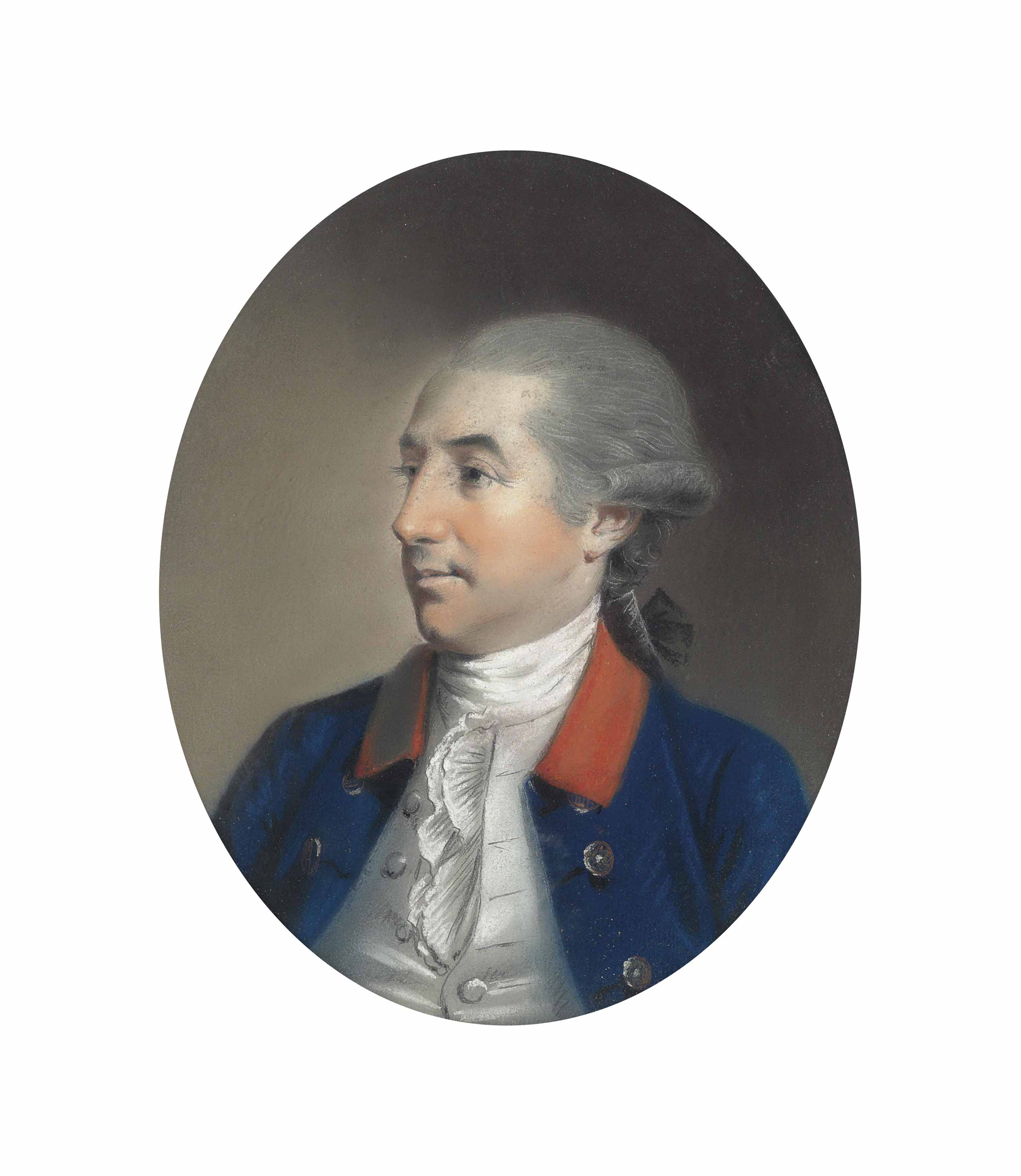 Portrait of the Rt. Hon. David La Touche of Marlay, Dublin (1734-1806), bust-length, in a blue coat with a red collar and white stock