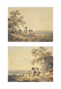 Views of London, the Thames and St Paul's in the distance: Woman and children with a baby carriage; and A family pausing on a road