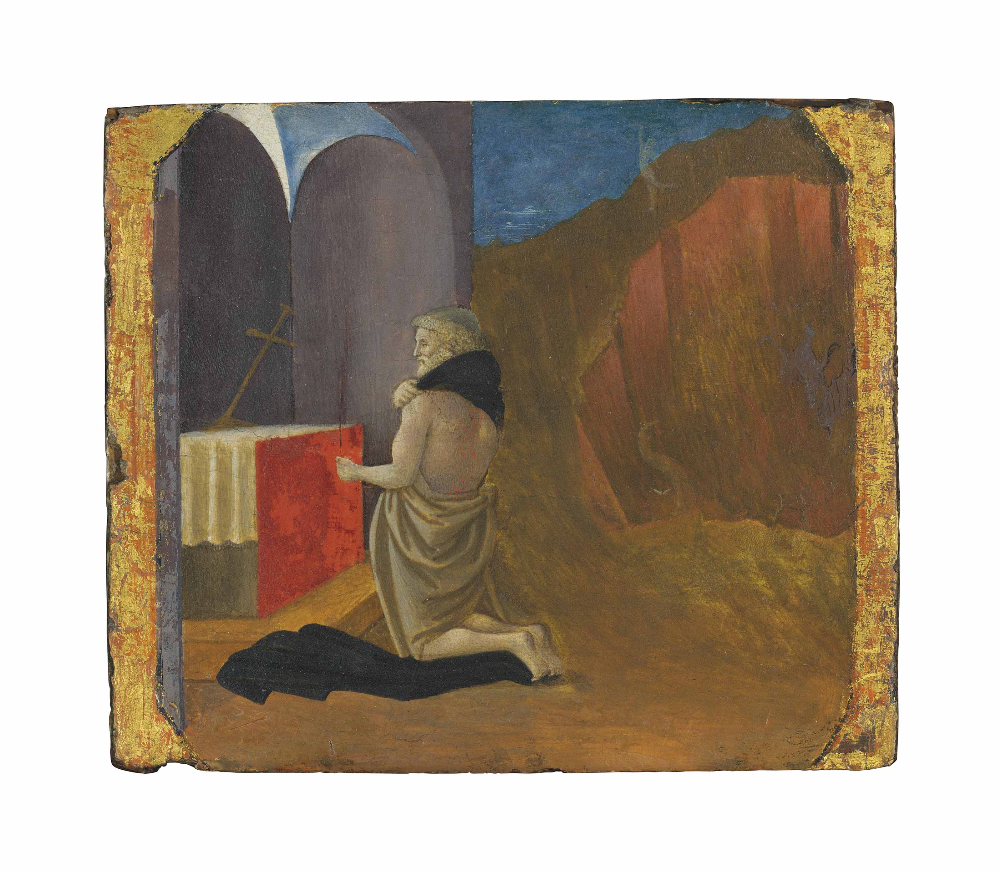 The penitent Saint Justus kneeling before an altar - a predella panel