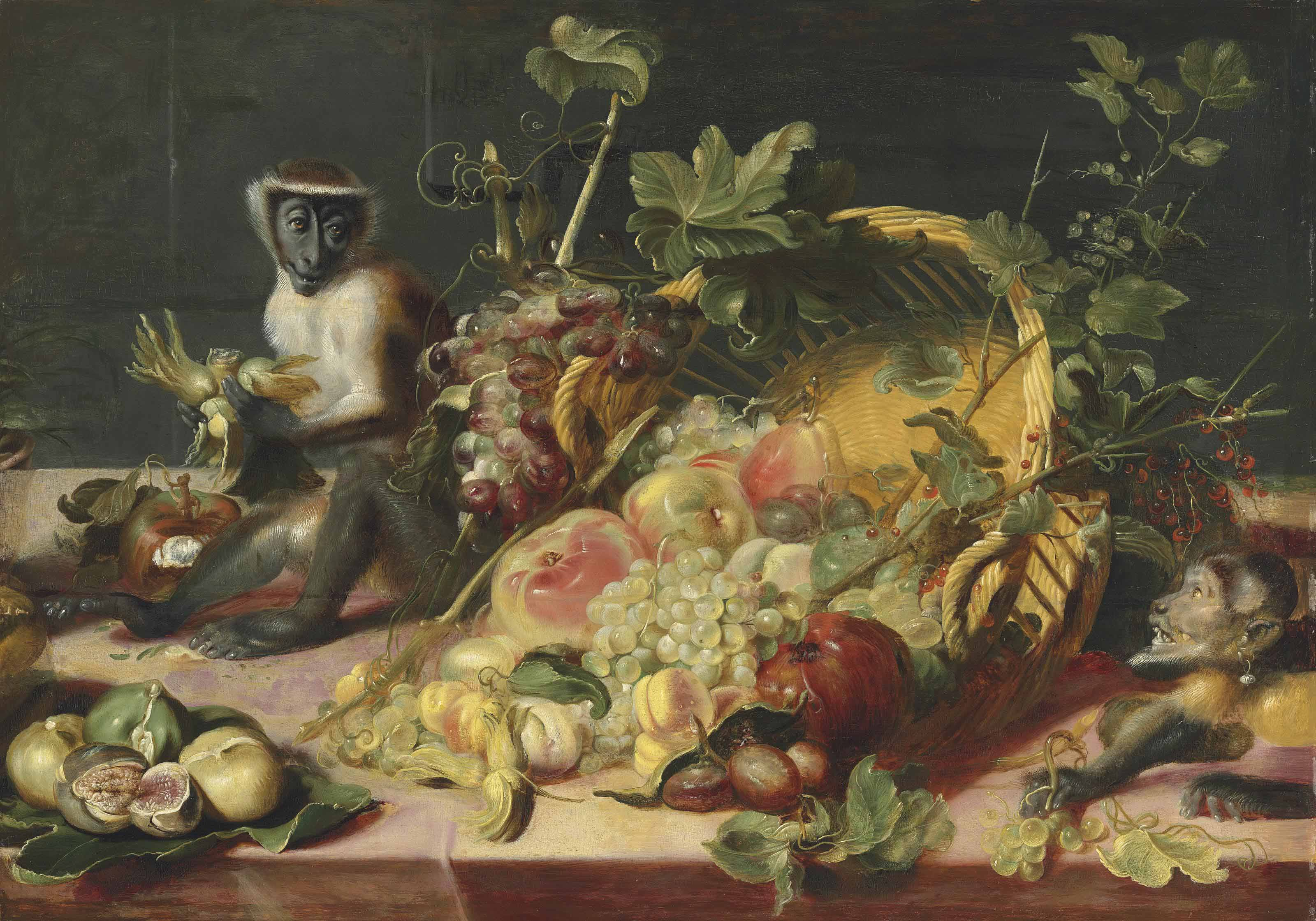 Apples, grapes, a pomegranate, figs and other fruit spilled from an overturned basked, with a monkey with a hazelnut and another with grapes on a draped table