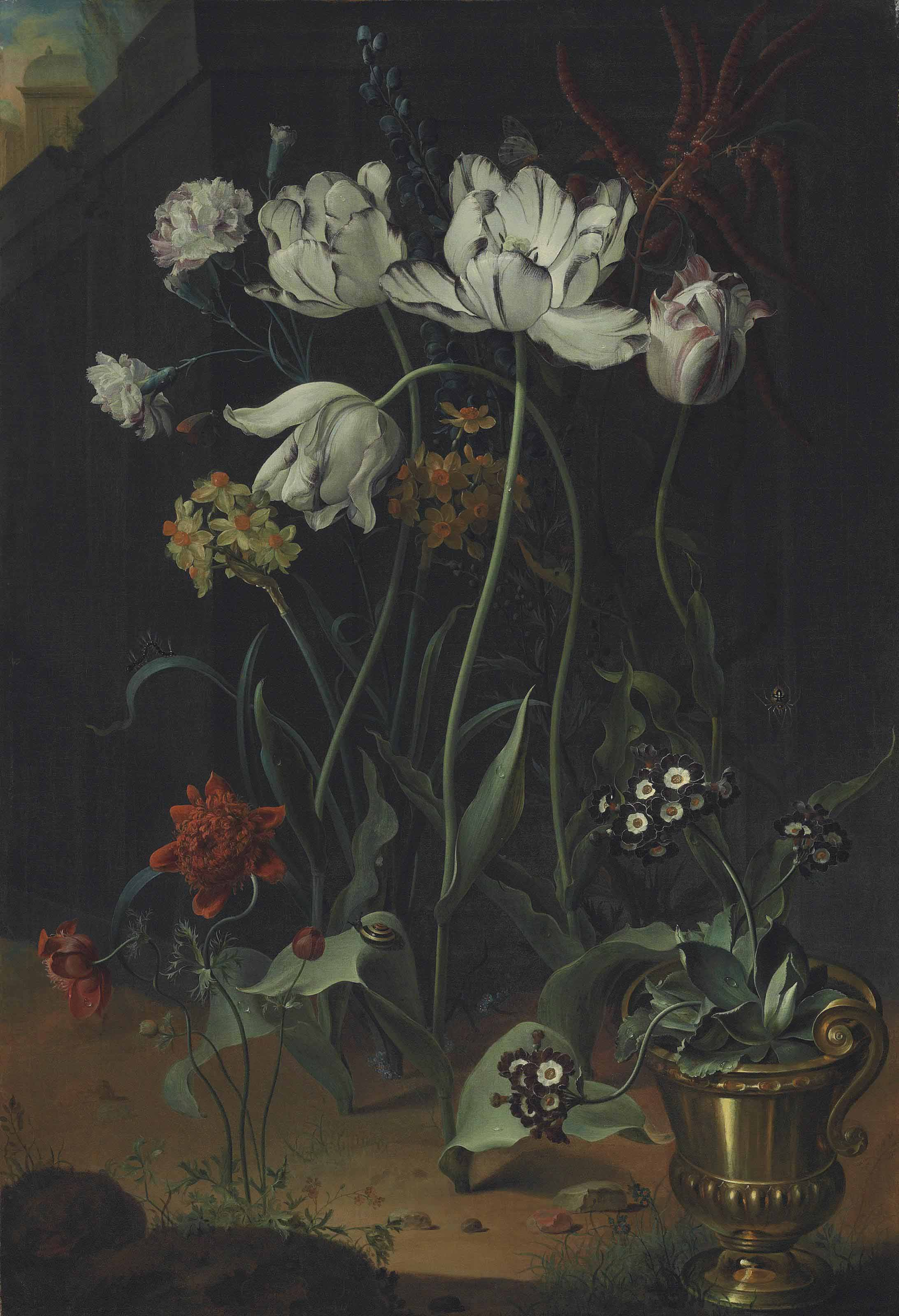 Parrot tulips, narcissi, carnations and other flowers, with primroses in a bronze urn