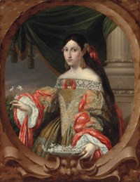 Portrait of a lady, half-length, in a richly embroidered lace dress with red sleeves, gold earrings, holding a pearled salver with jasmine flowers, in a sculpted cartouche