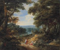 A wooded landscape with figures and a dog on a path, with a river and a castle in the distance