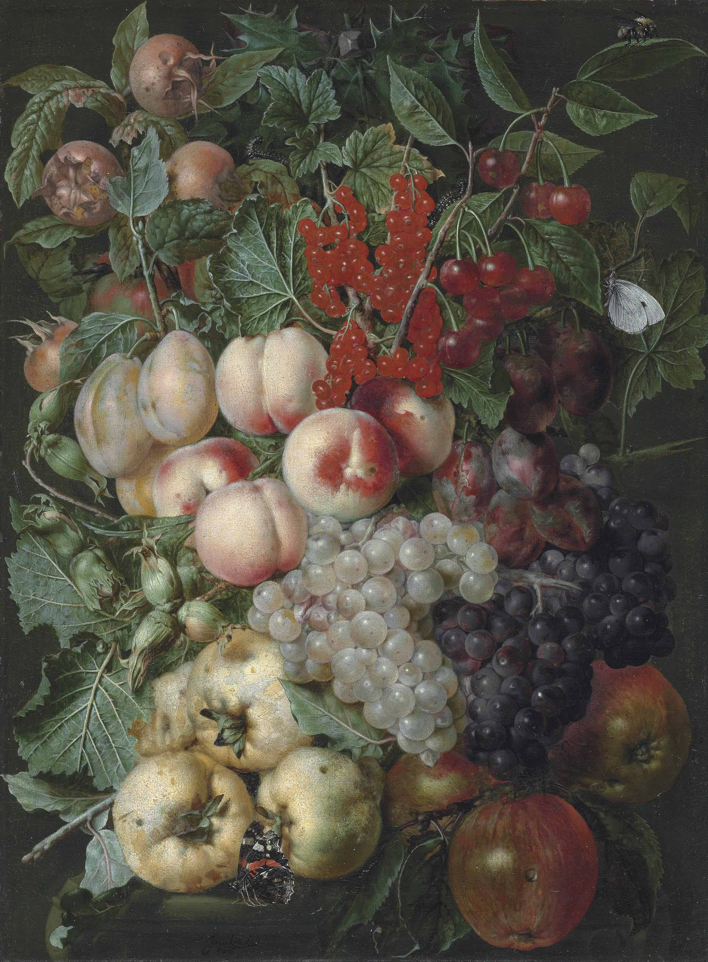 Grapes, peaches, hazelnuts, quinces, redcurrants and other fruit, with a brimstone butterfly, a bumblebee and other insects on a stone capital