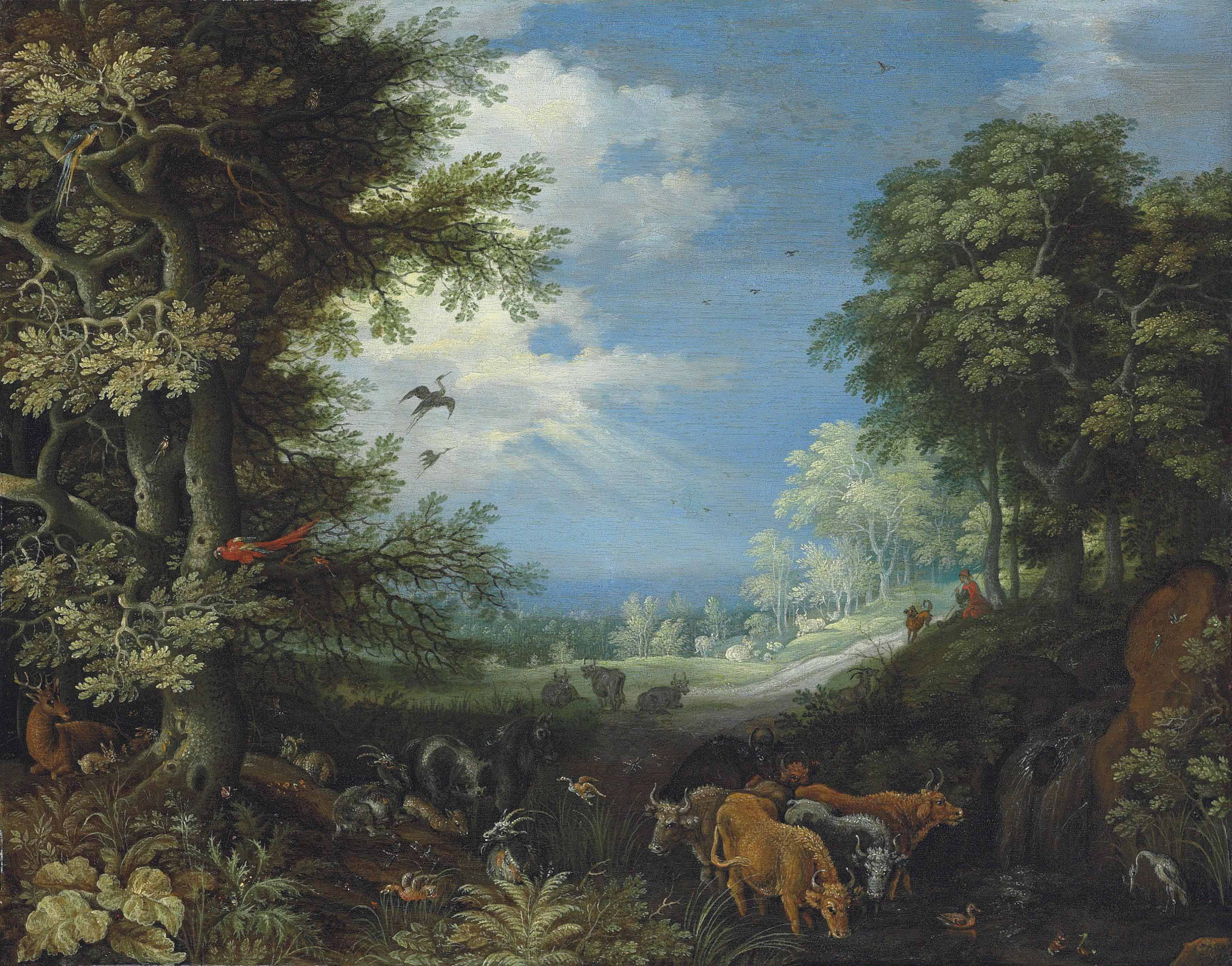 A wooded landscape with cattle, goats, a stag, ducks, a parrot and other birds, a herdsman and his dog beyond
