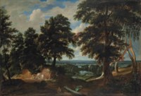 An extensive wooded landscape, with the conversion of Saint Hubert in the foreground