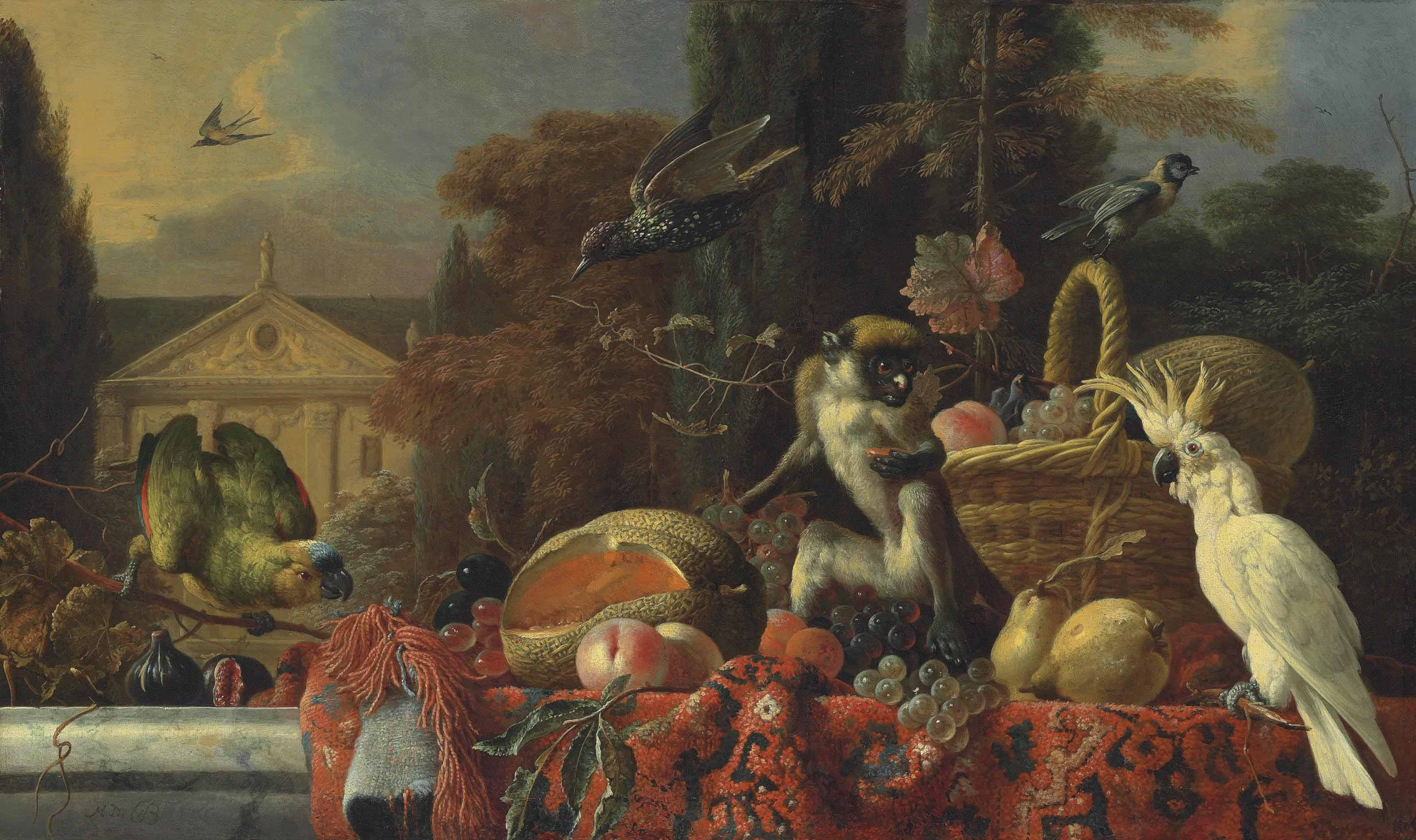 A cockatoo, a monkey by a wicker basket of fruit, with a blue fronted Amazon parrot and figs, a melon, peaches and other fruit on a partially draped marble ledge, with a starling and a swallow in a wooded landscape, a classical building beyond