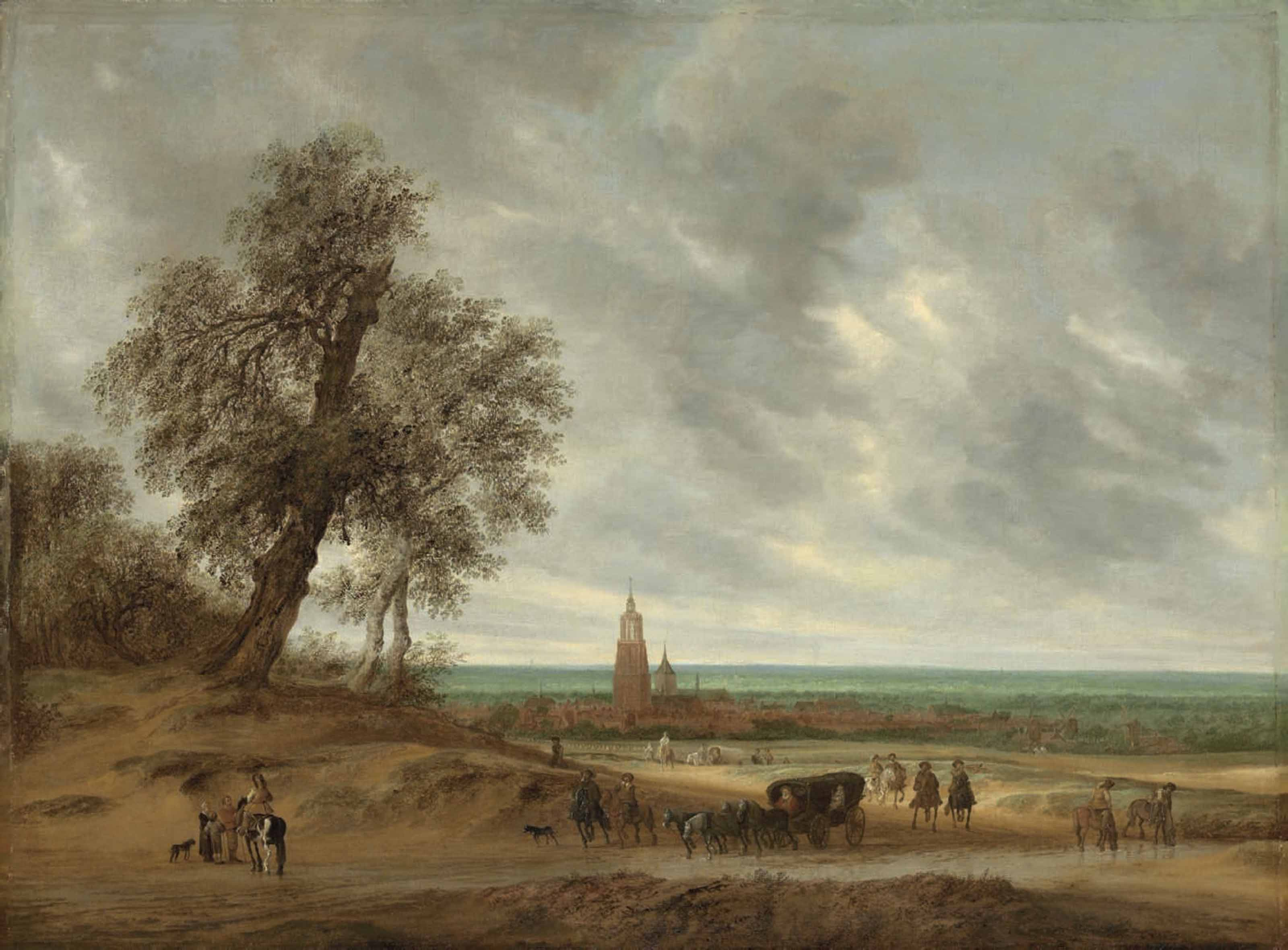 A panoramic landscape with travellers on a path, the city of Amersfoort beyond