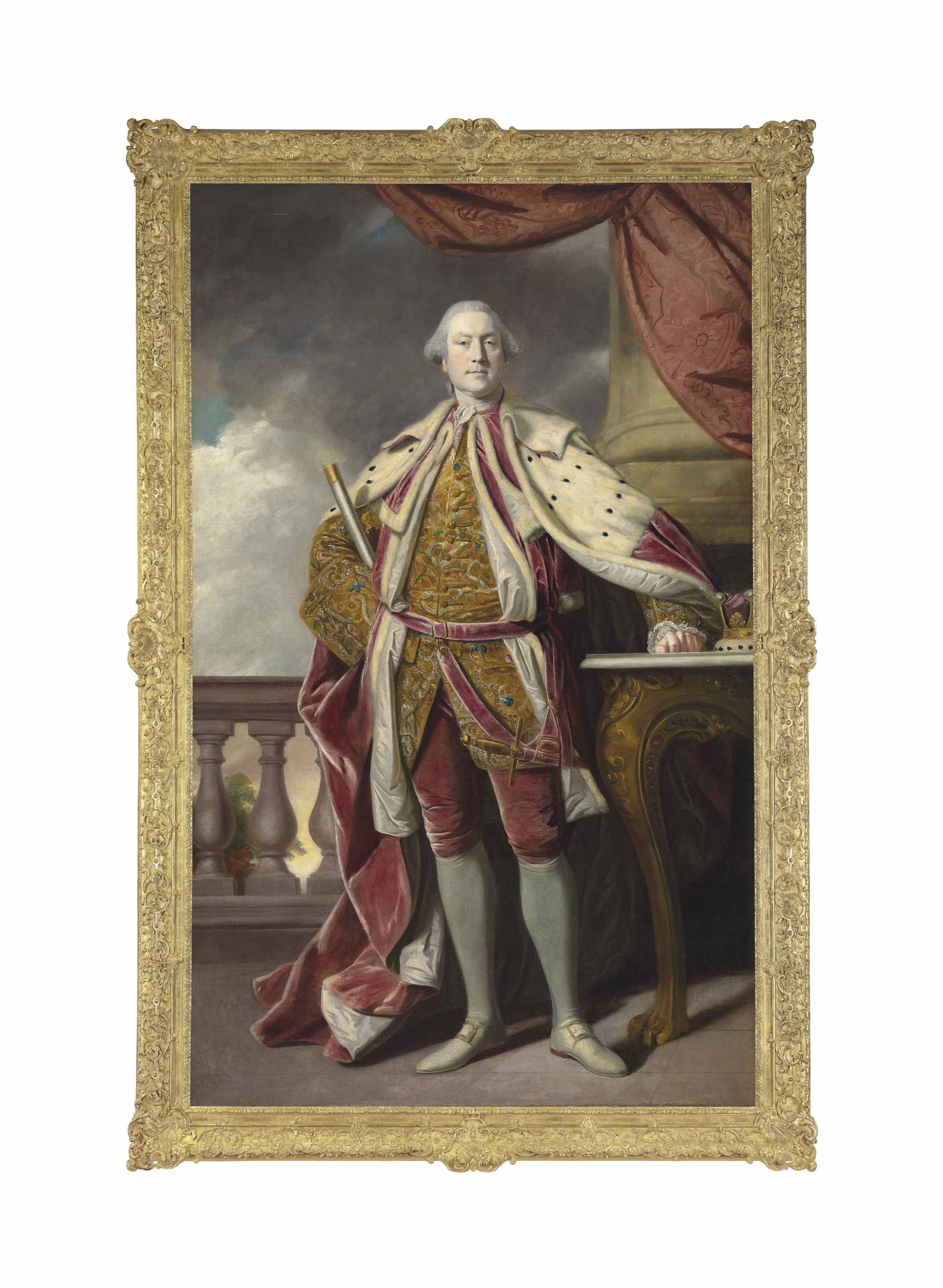 Portrait of James Hay (1726-1778), 15th Earl of Erroll, full-length, in Coronation robes, holding the baton of the Lord High Constable of Scotland, a balustrade and a tree beyond