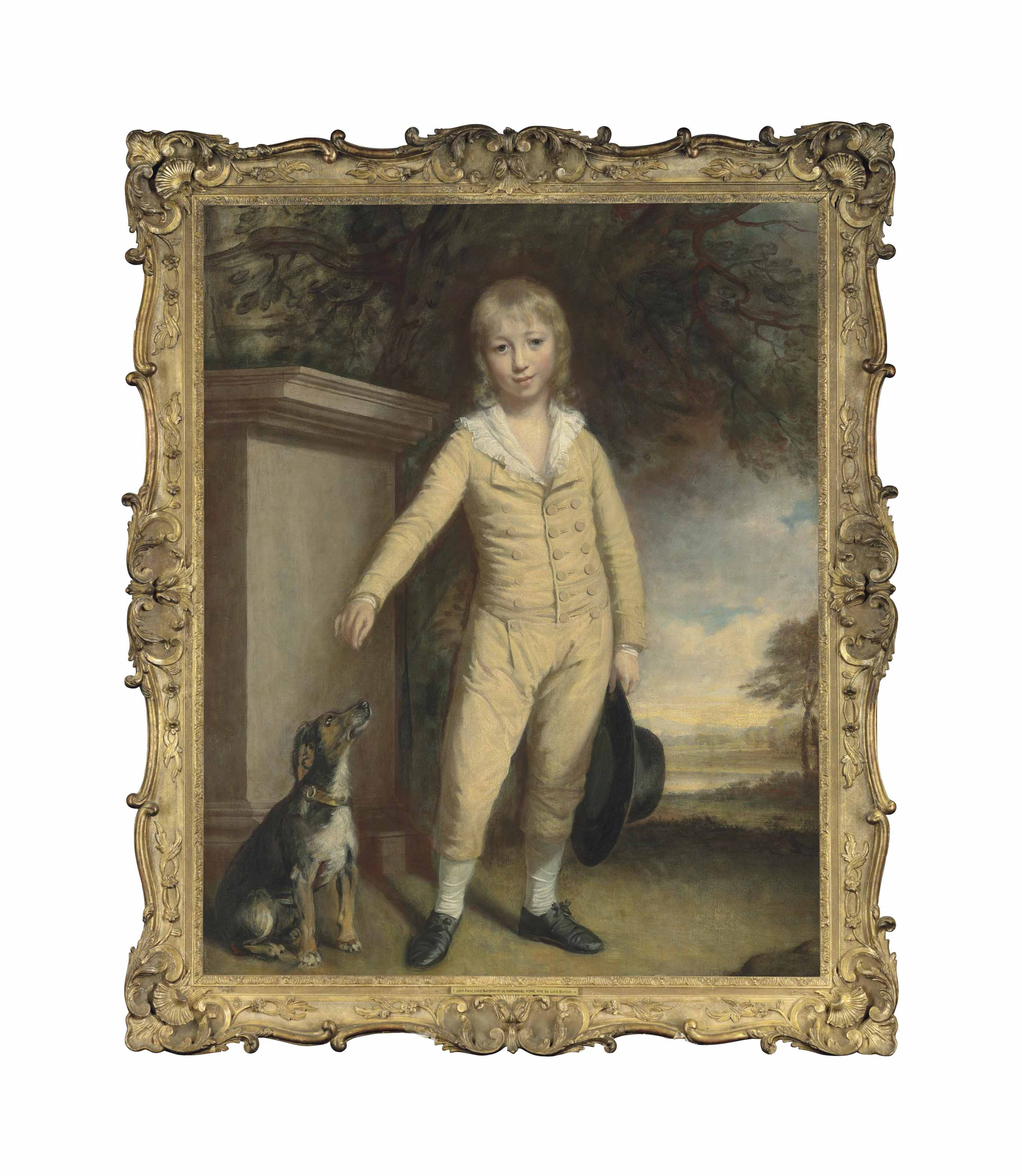 Portrait of John Fane, 10th Earl of Westmorland (1759-1841), as a boy, full-length, in a cream suit, holding a hat, with a terrier, by a plinth, in a park landscape