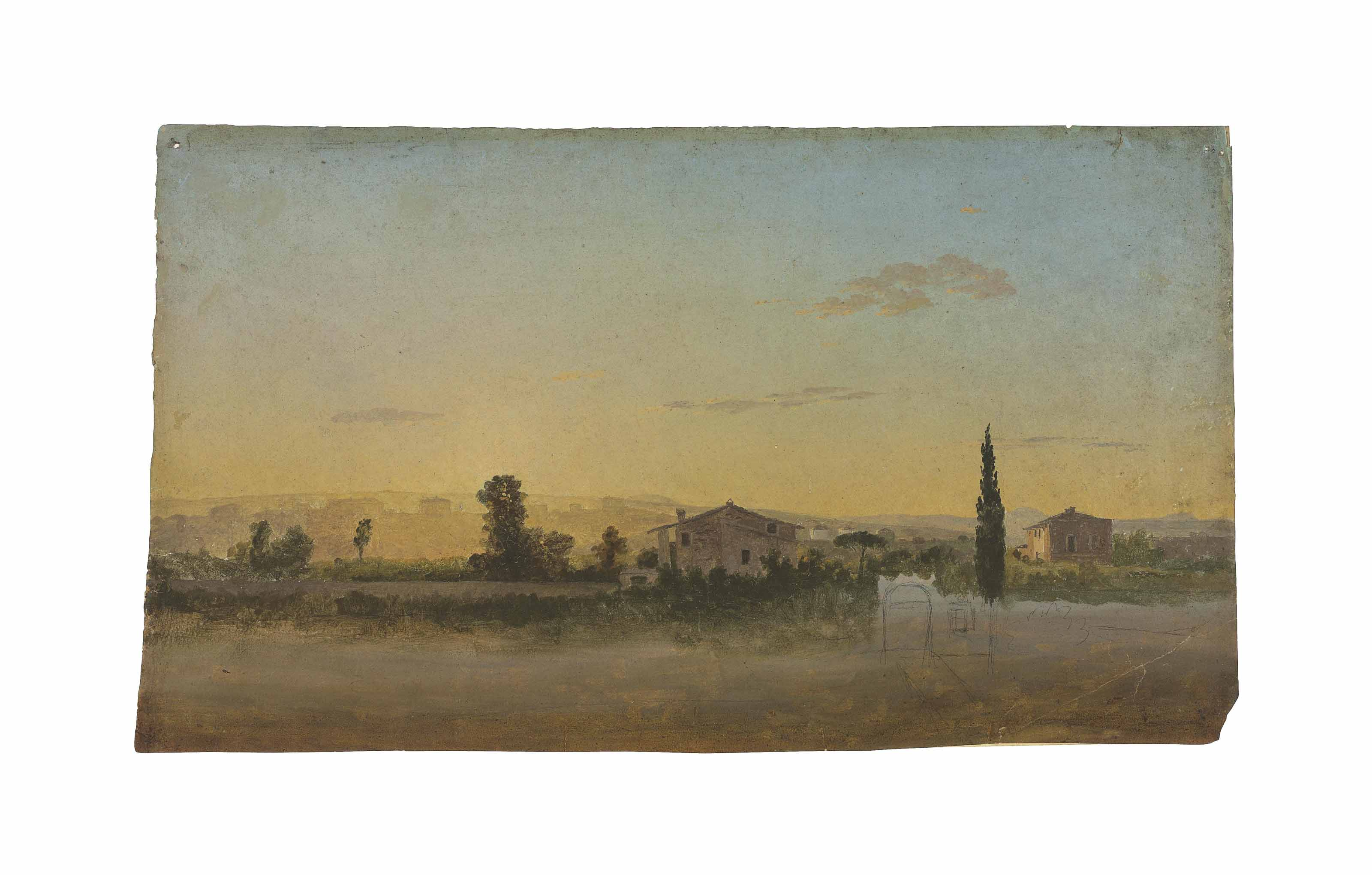 An extensive landscape with houses seen from the Porta Pia, Rome