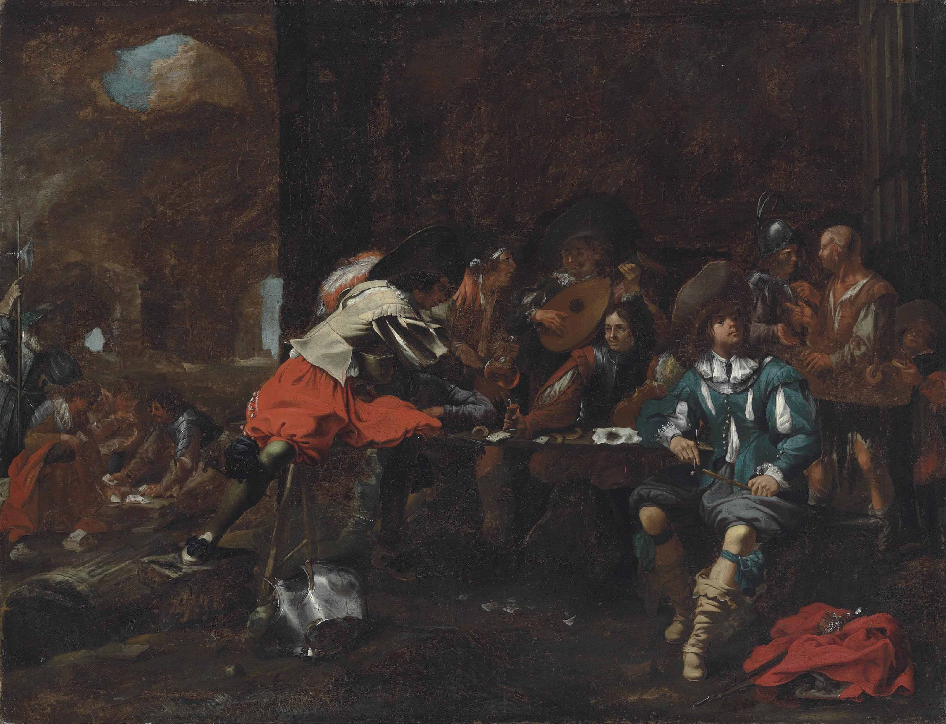Soldiers and elegant figures playing cards and making music in a ruined classical building