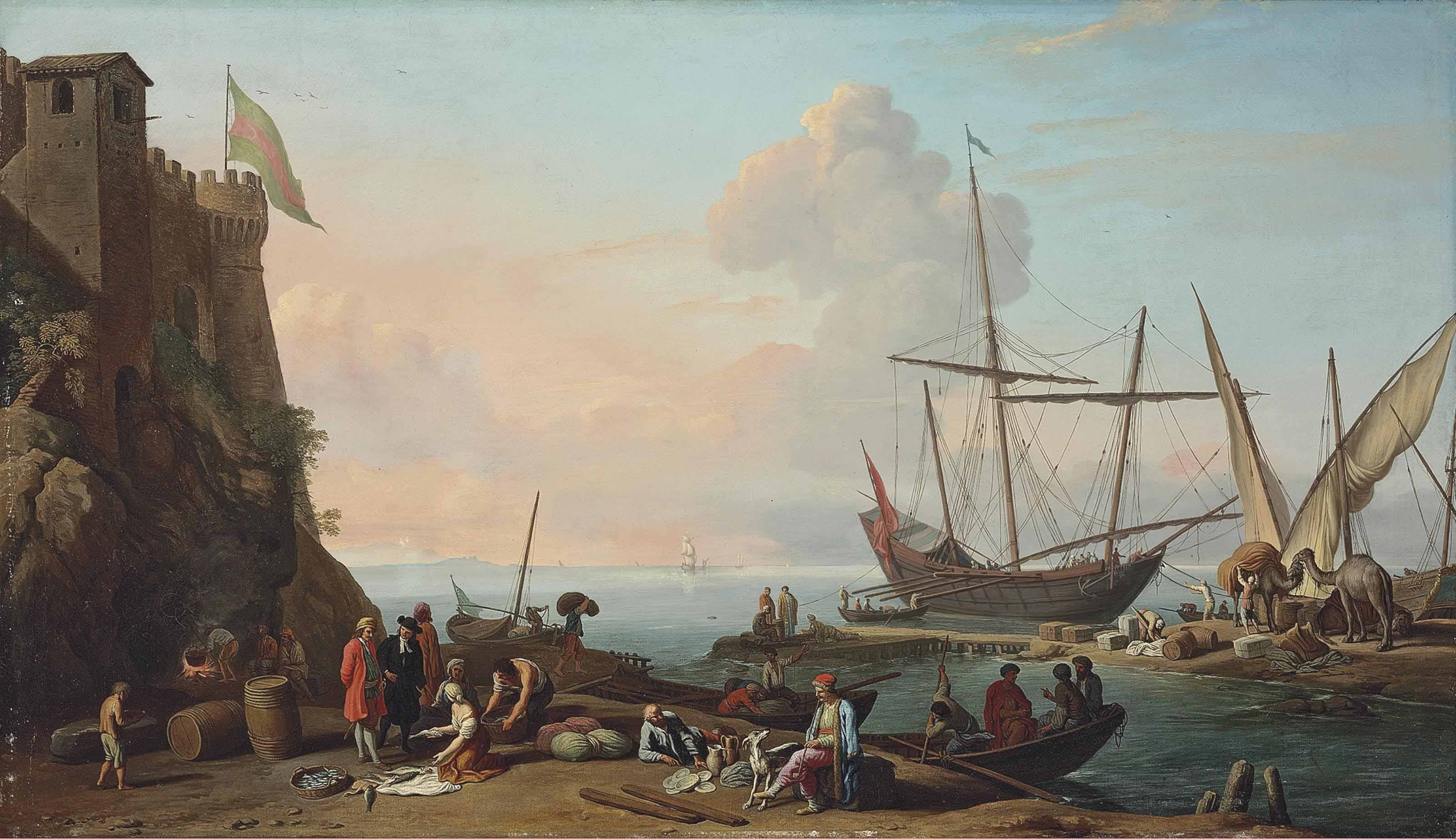 A Mediterranean harbour with stevedores unloading their ships, figures  selling fish in the foreground by a fortress