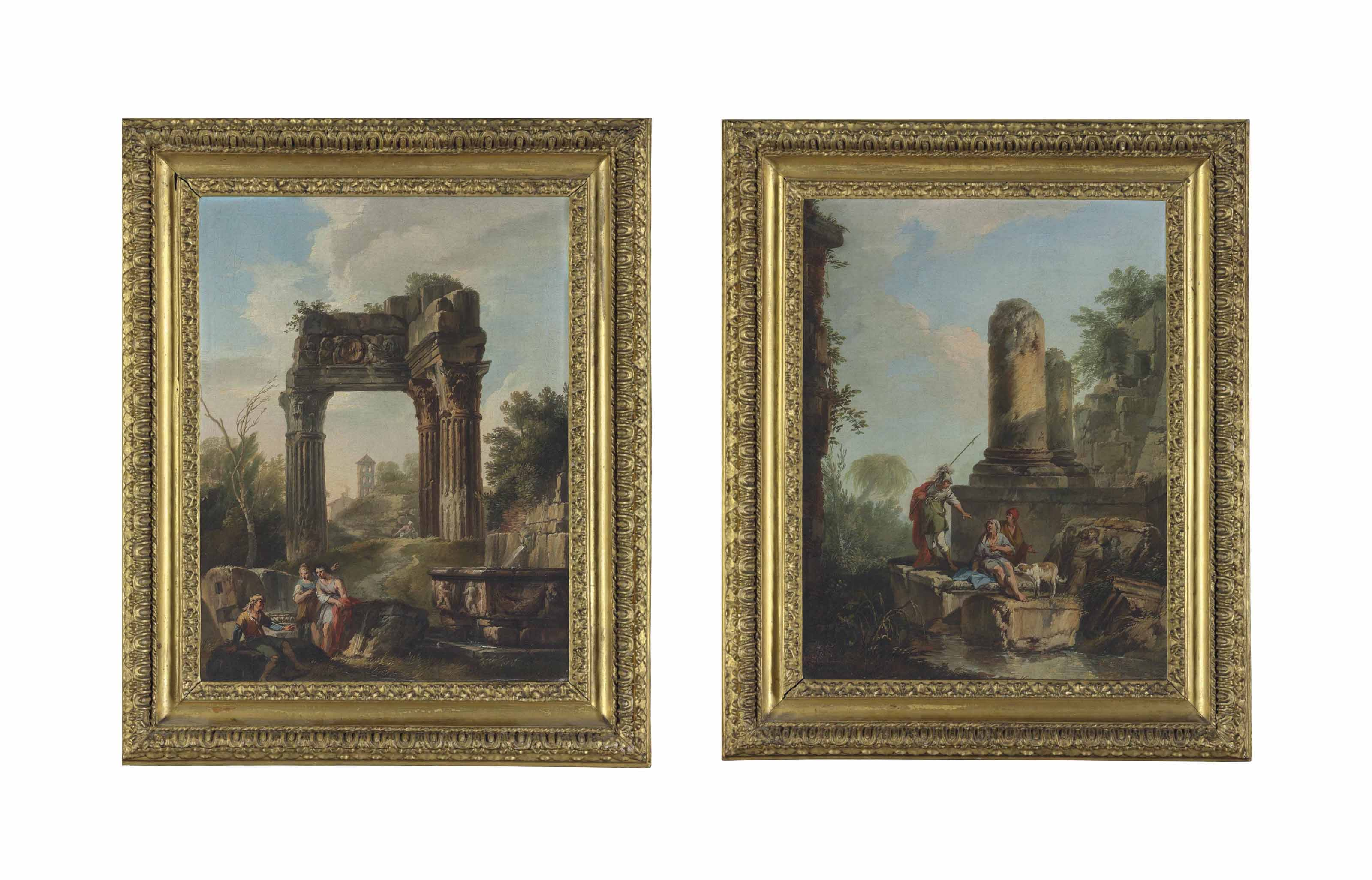 A capriccio with classical ruins and figures resting by a fountain in the foreground; and A capriccio with classical ruins and a centurion conversing with two figures, with a dog