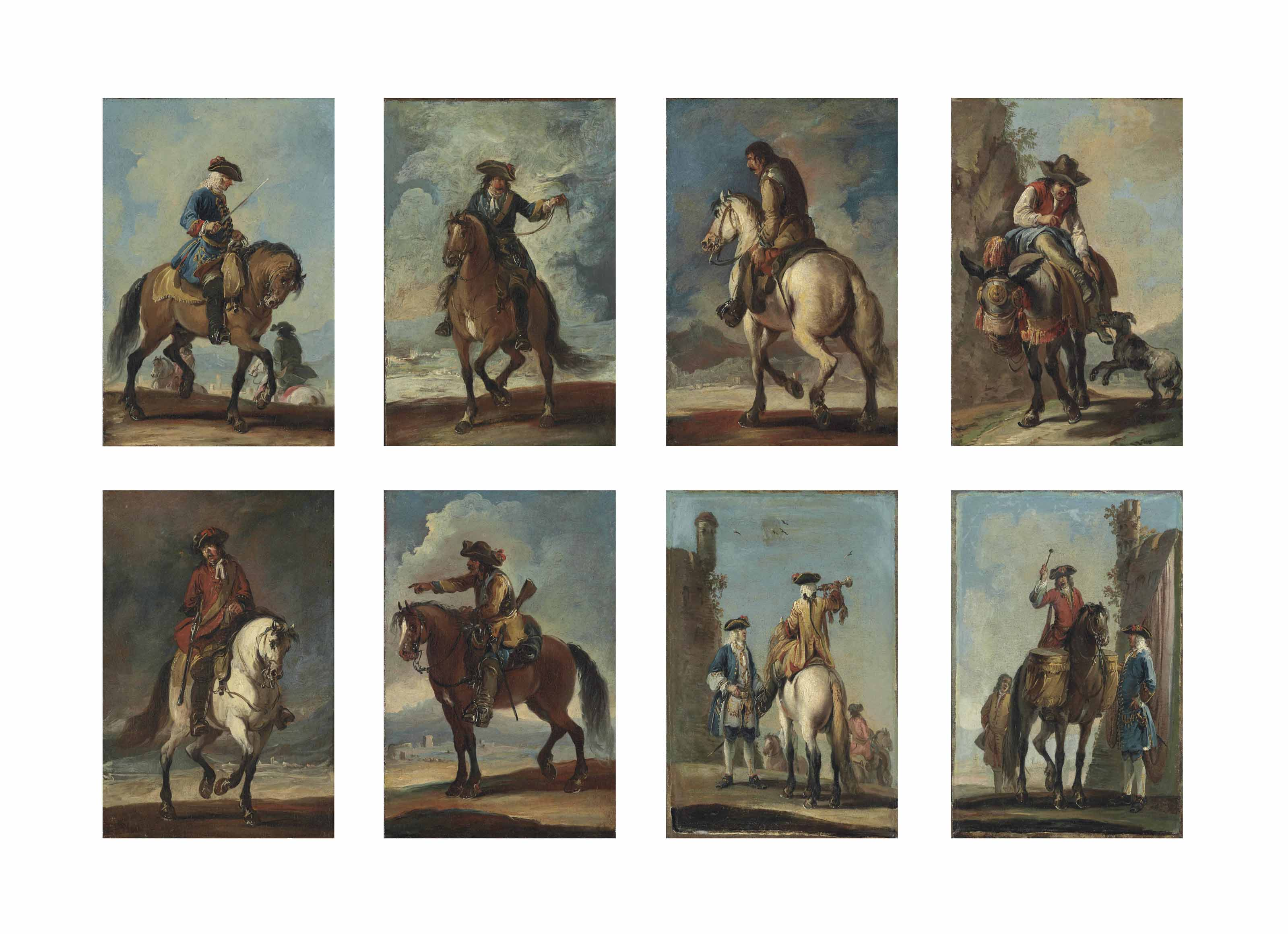 A set of eight individual military figures on horseback, one on a mule; two being attended by other figures, before ruins