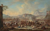 An extensive mountainous landscape with a battle scene