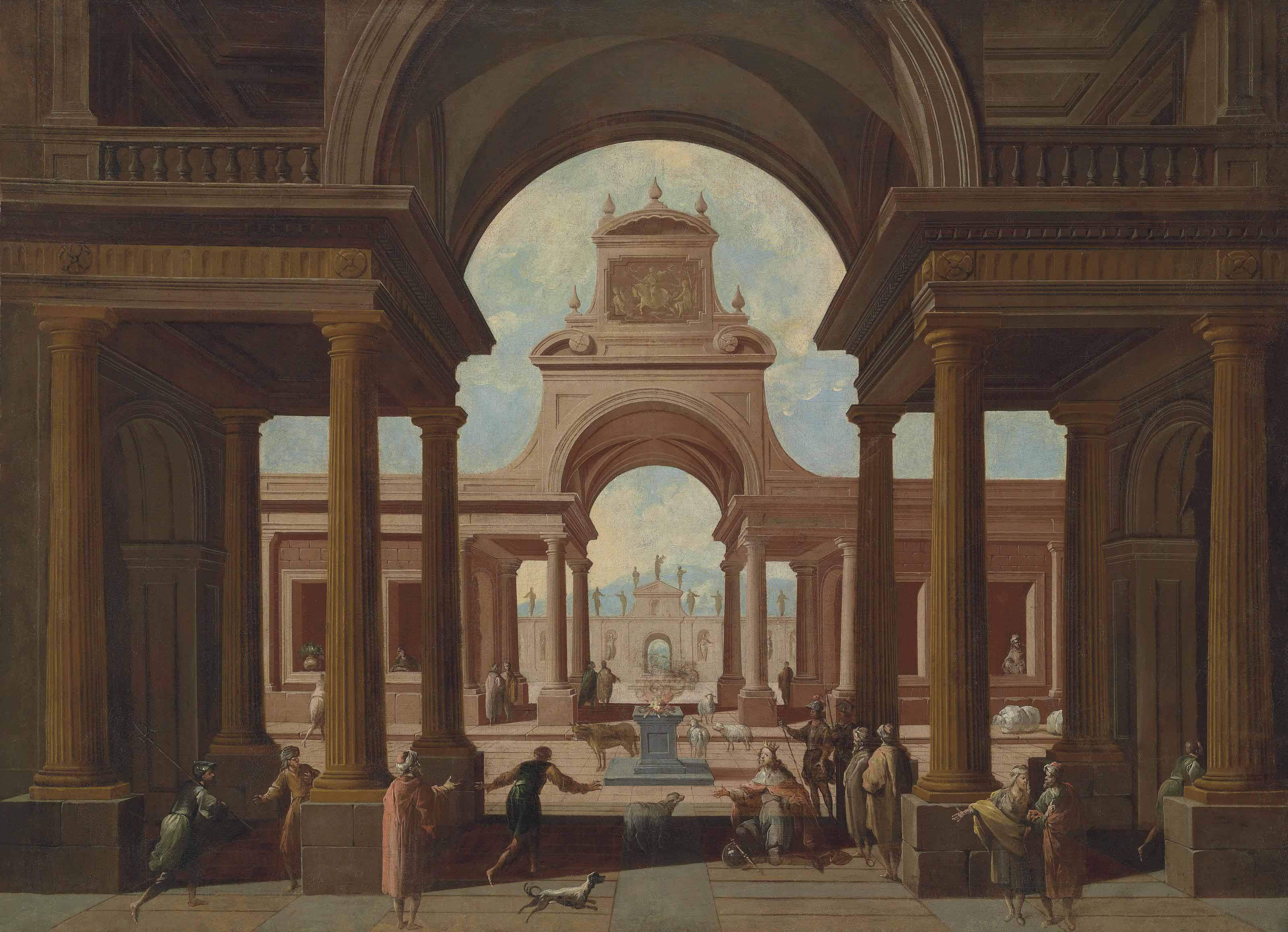 An architectural capriccio with a king kneeling and other figures conversing in the foreground before a pagan sacrifice with animals