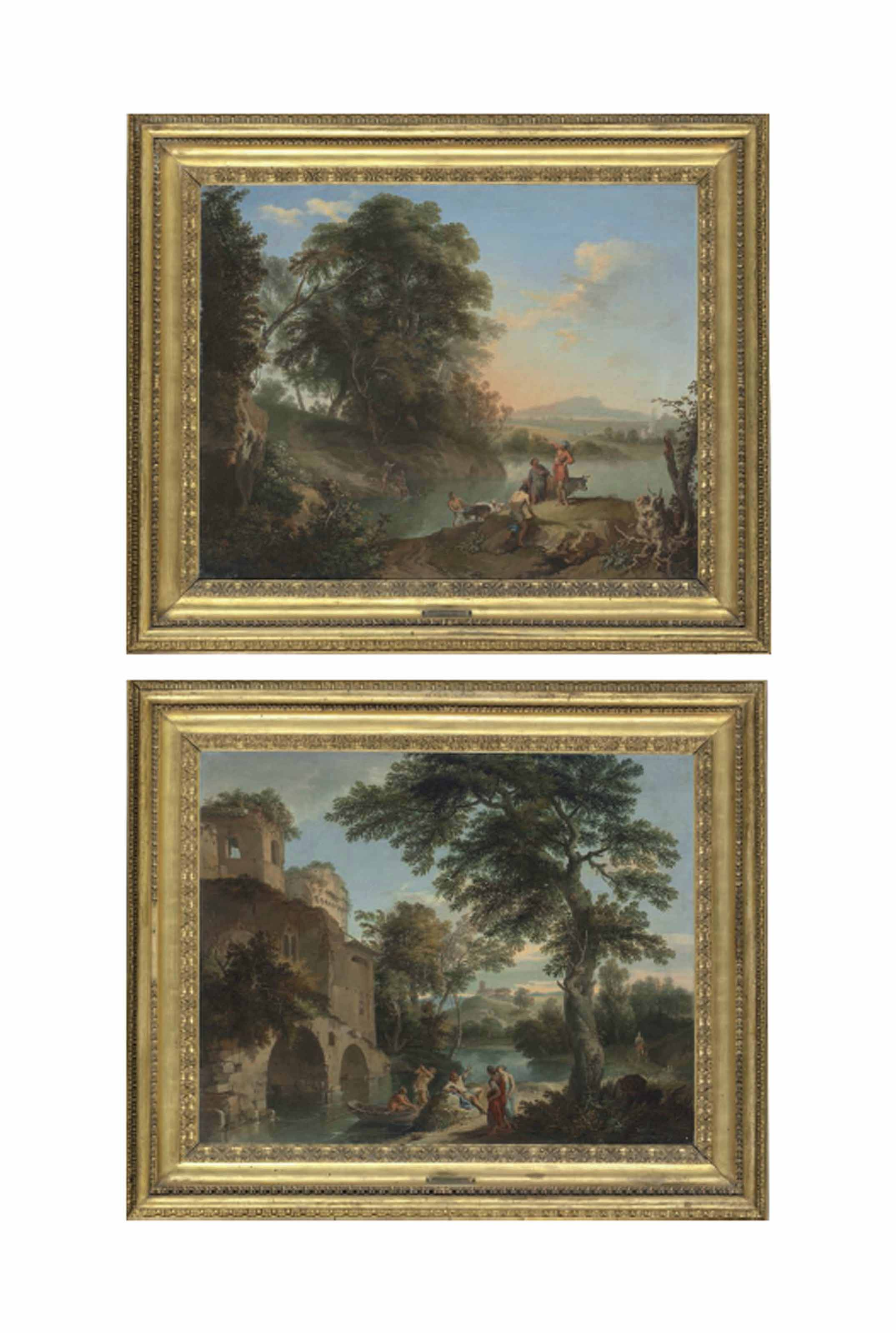 An Italianate landscape with figures resting by a stream near a ruined castle; and An Italianate landscape with herdsmen and their cattle and goats by a stream