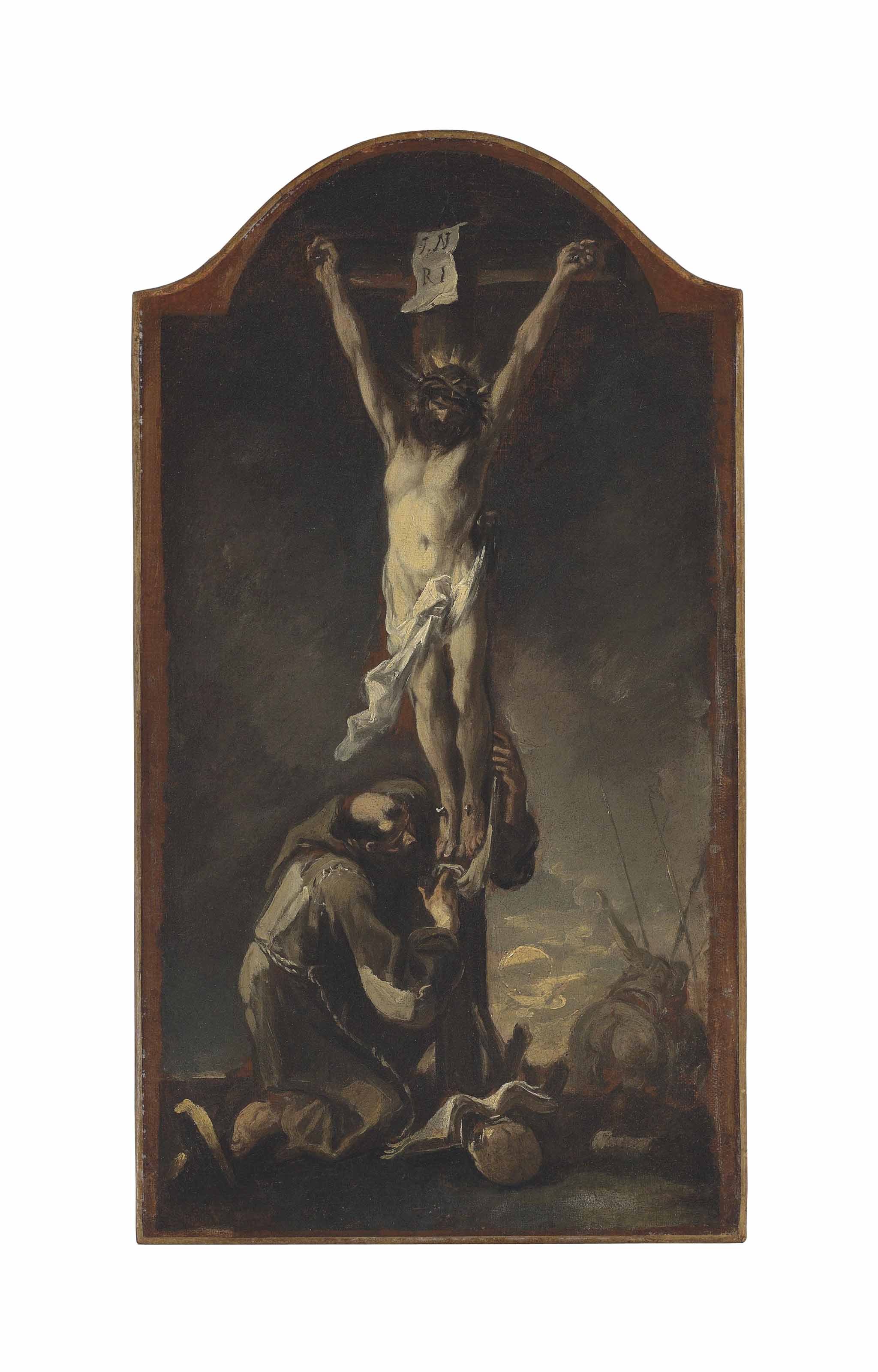 Christ on the Cross with a kneeling Capuchin monk - a modello