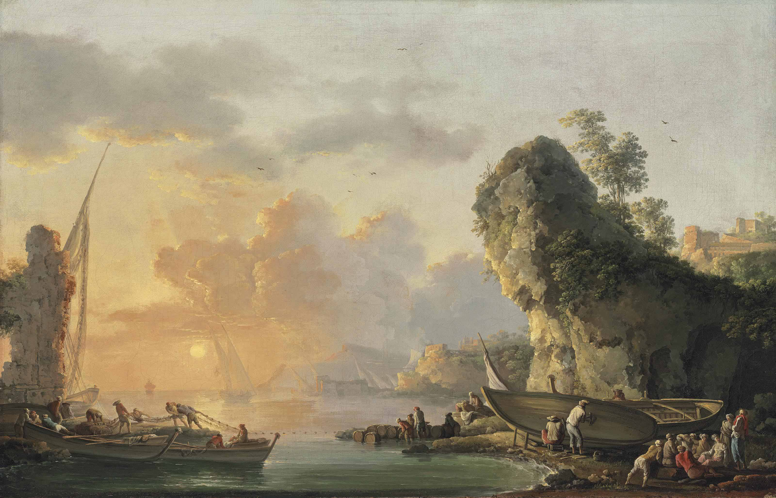 A coastal landscape with fishermen pulling in their nets at sunset, others repairing their boats and resting on the shore by a rocky outcrop, a town on the hills beyond