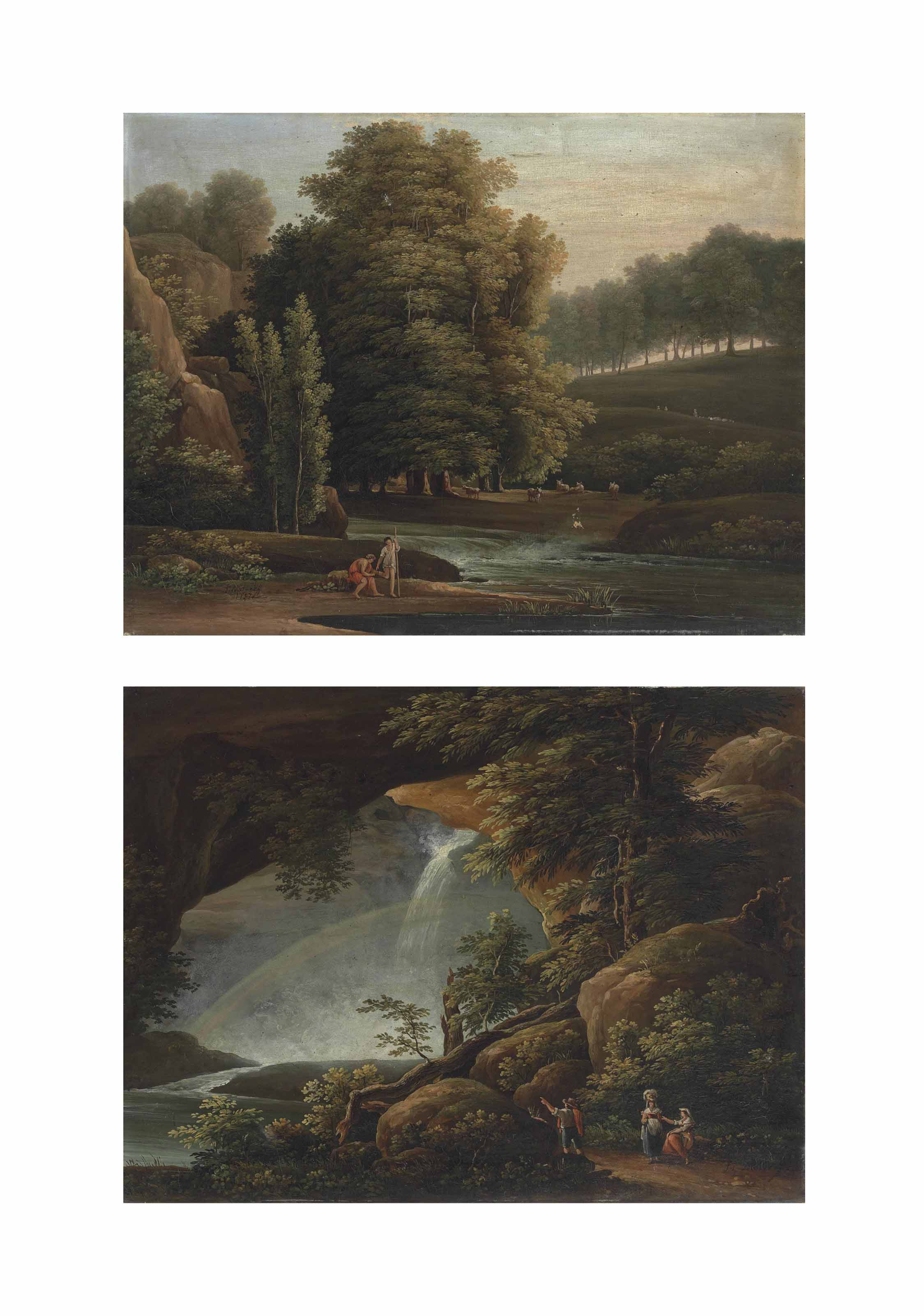 A wooded landscape with shepherds and their flock by a stream; and A rocky wooded landscape with travellers resting by a waterfall