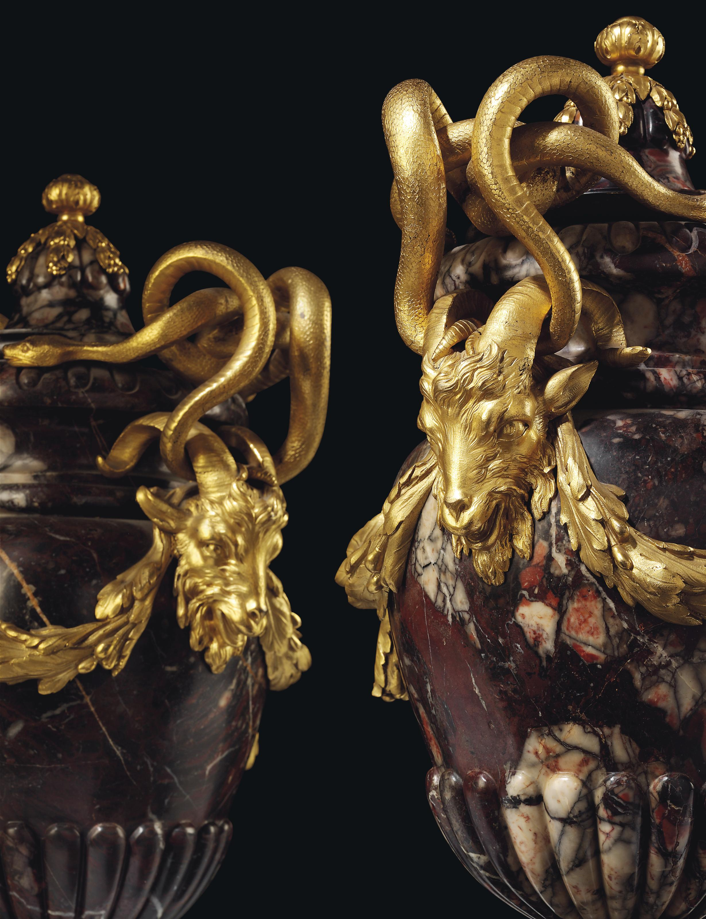 A PAIR OF LATE LOUIS XV ORMOLU-MOUNTED BRECCIA AFRICANO MARBLE VASES