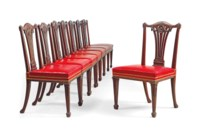 A SET OF EIGHT MAHOGANY DINING-CHAIRS