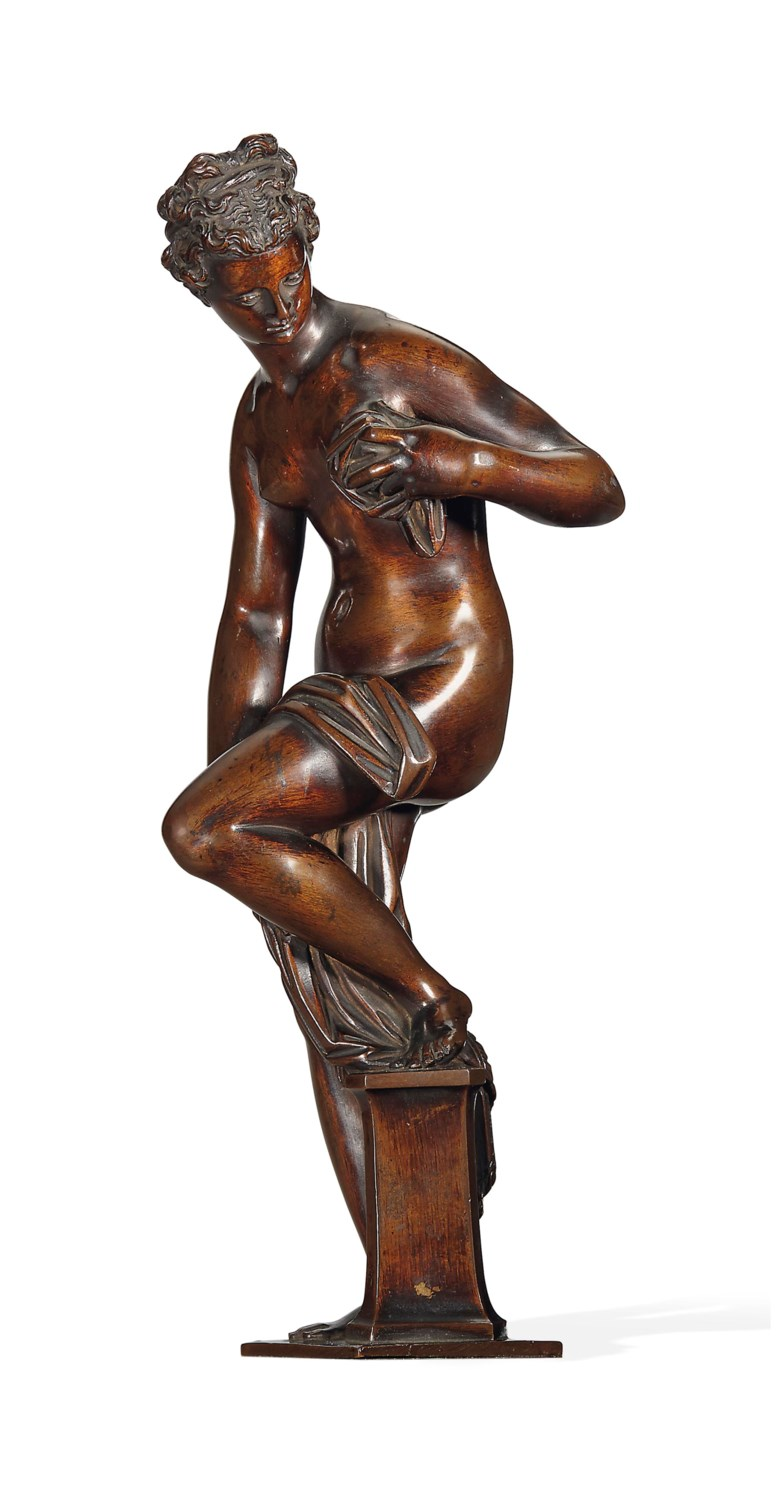 A bronze figure of Venus drying herself, from a model by Giambologna (1529-1608), the cast attributed to Antonio Susini (1558-1624), circa 1585-1600. 9¾ in (24.8 cm) high; 14  in (35.5  cm) high, overall. Sold for £1,058,500 on 10 July 2014 at Christie's in London