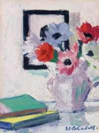Still Life - Anemones in vase with green book