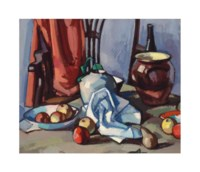 Dish with apples, ginger jar, brown crock, bottle, and chair
