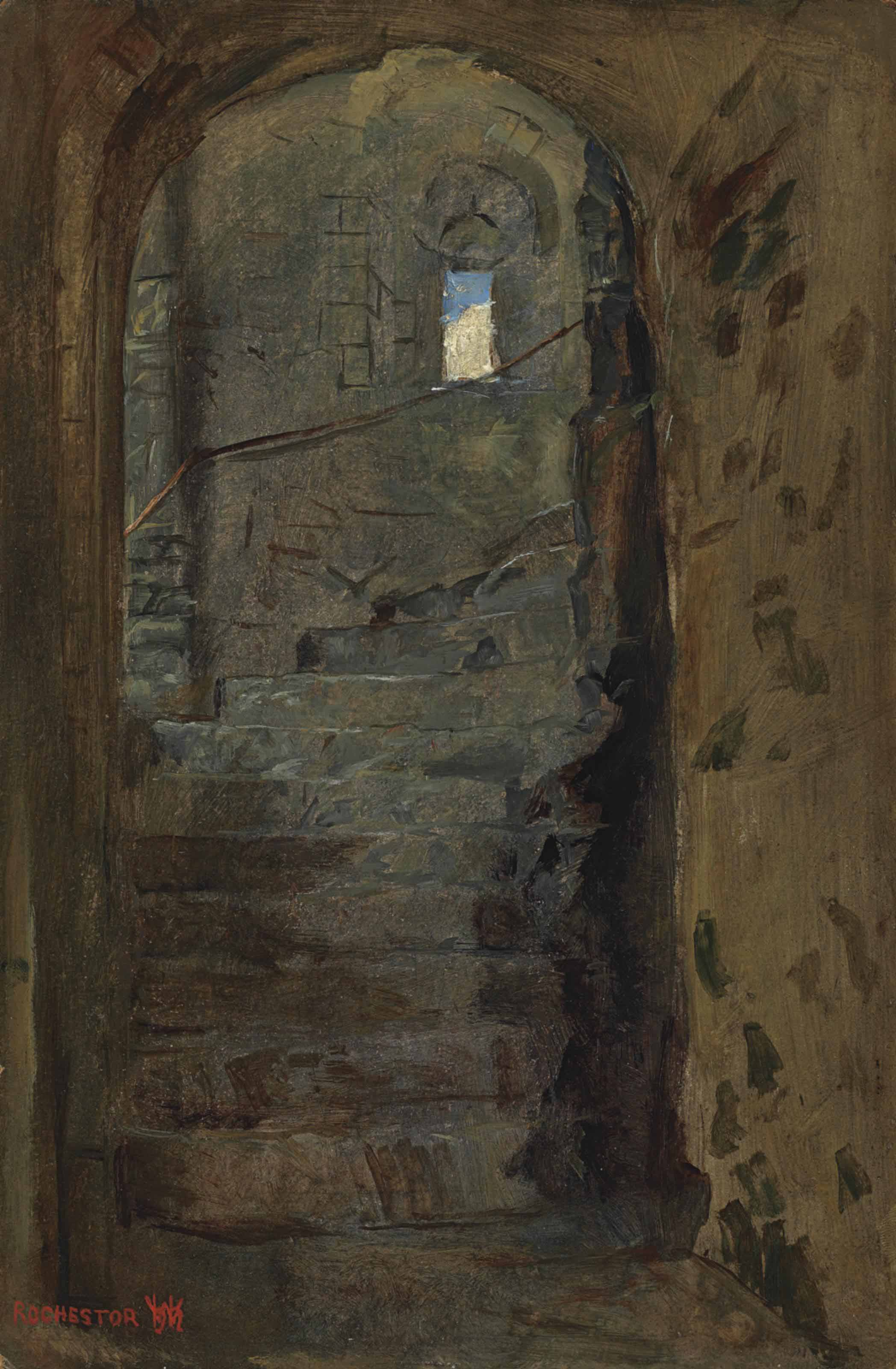 A staircase at Rochester Castle, Kent