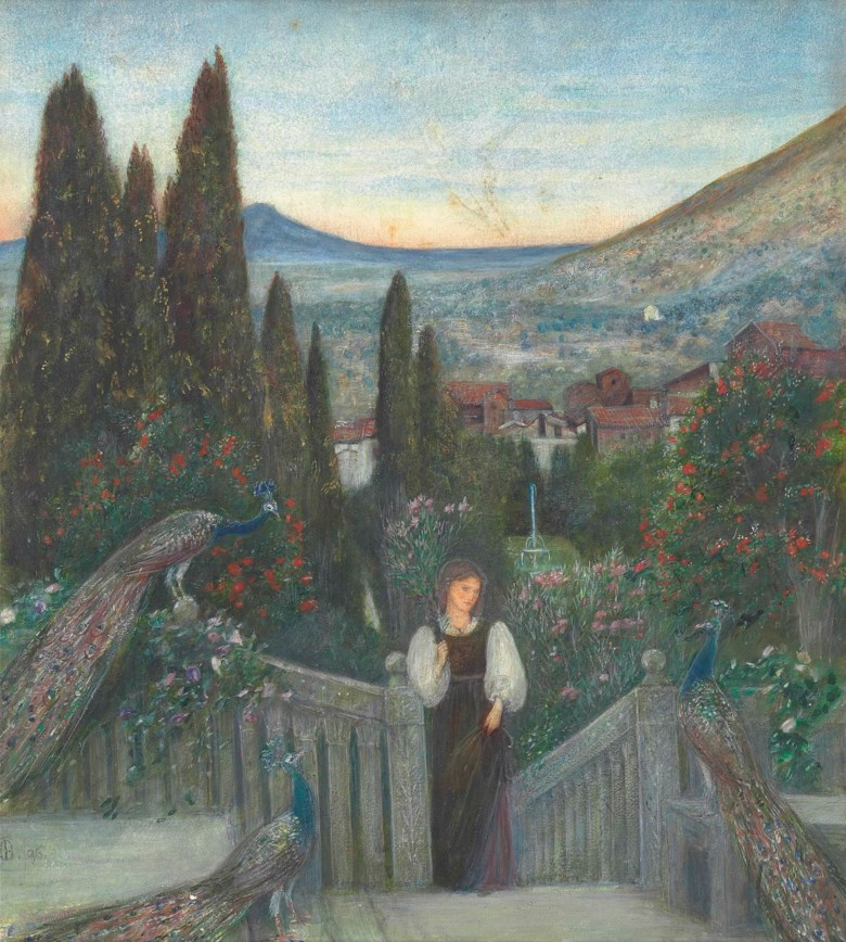 Maria Spartali Stillman (1844-1927), A Lady with Peacocks in a Garden, an Italianate Landscape Beyond. Pencil, watercolour and bodycolour with gum arabic on paper. 19 x 17  in (42.3 x 43.2  cm). Sold for £10,625 on 17 June 2014 at Christie's in London