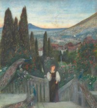 A lady with peacocks in a garden, an Italianate landscape beyond