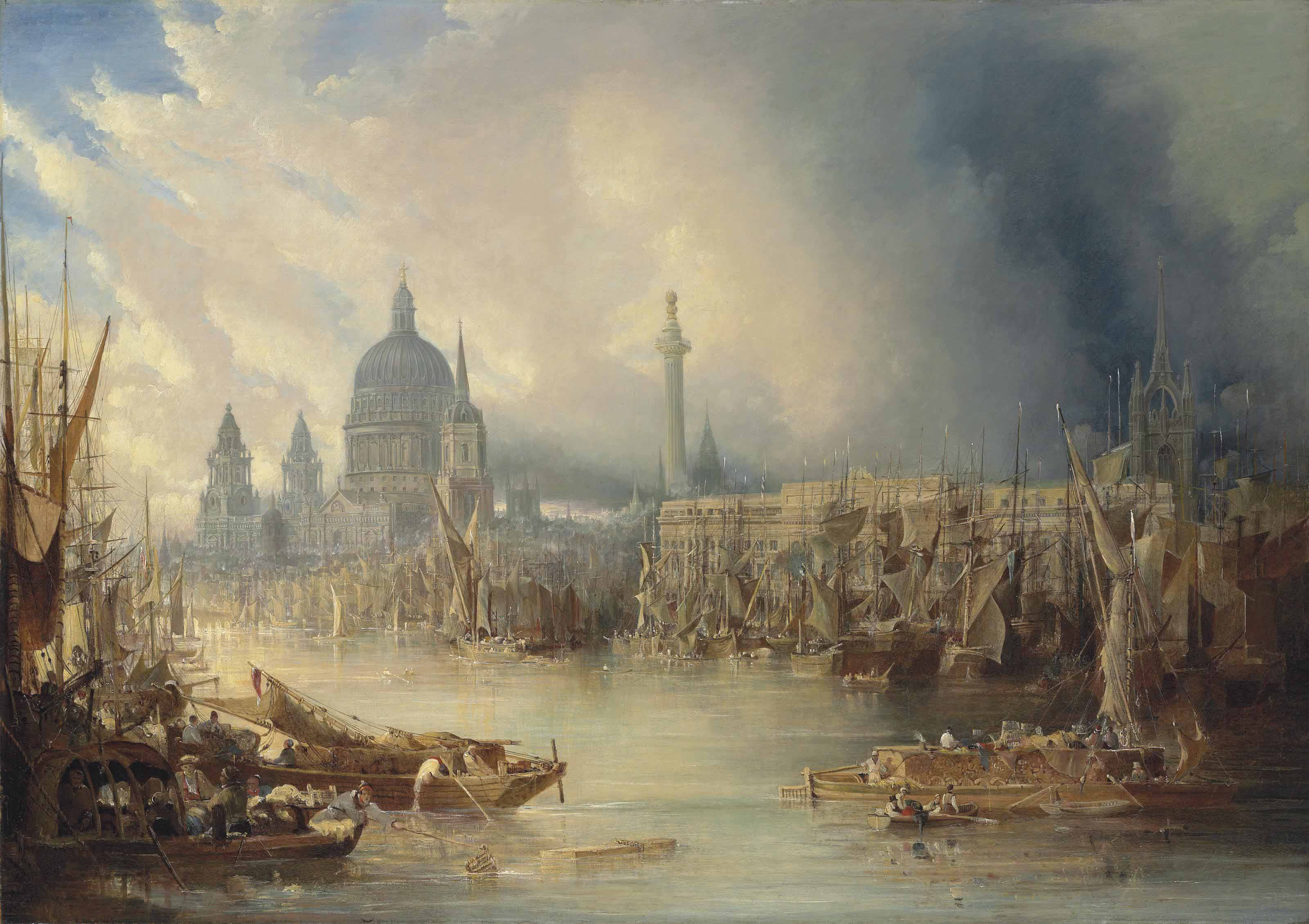 View of St Paul's Cathedral and the Monument from the south bank of the River Thames