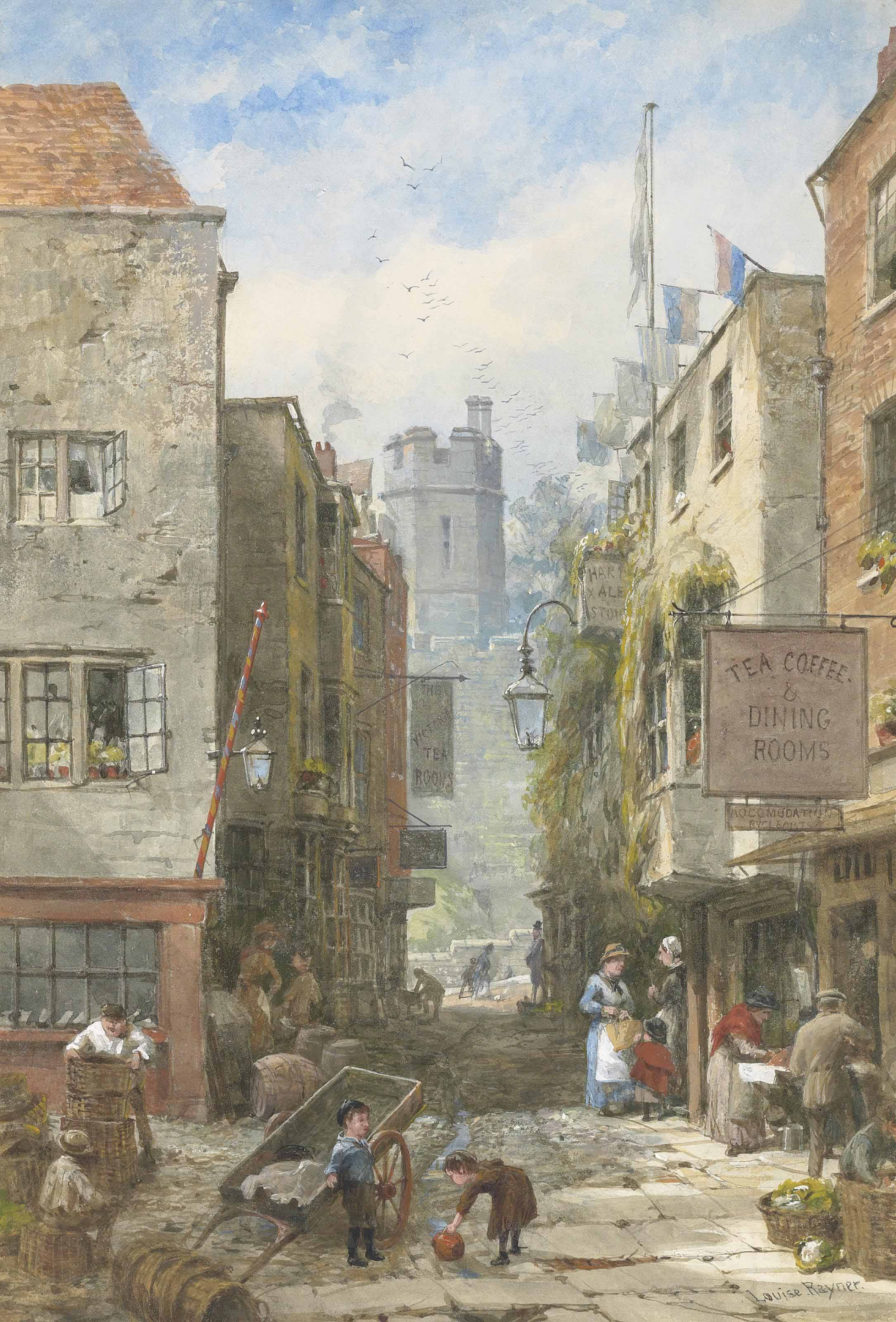 Windsor Castle from Market Street across Castle Hill