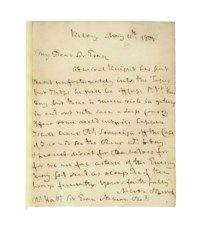 NELSON, Horatio, Viscount (1758-1805). Autograph letter signed ('Nelson & Bronte') to Sir Evan Nepean (Commissioner of the Admiralty), Victory, 11 May 1805, one page, 4to, integral blank, contemporary endorsement (remnants of guards).