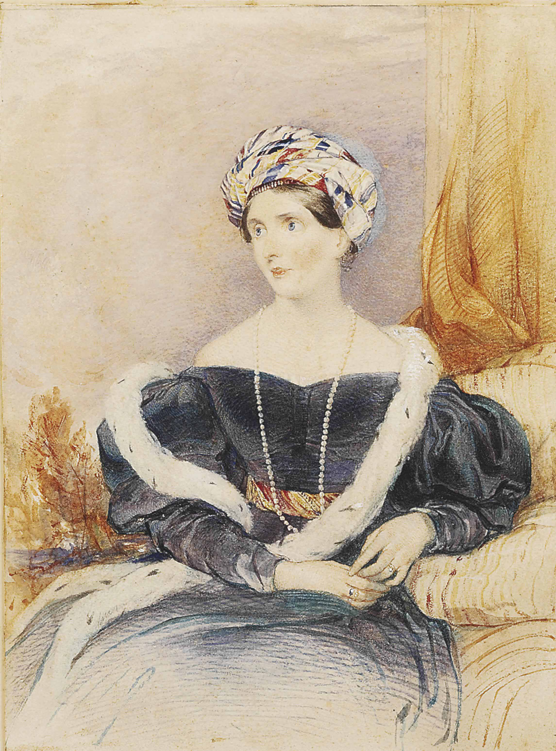 Portrait of Lady Priscilla Wellesley-Pole, Countess of Westmorland, three-quarter-length, in a blue dress with ermine stole