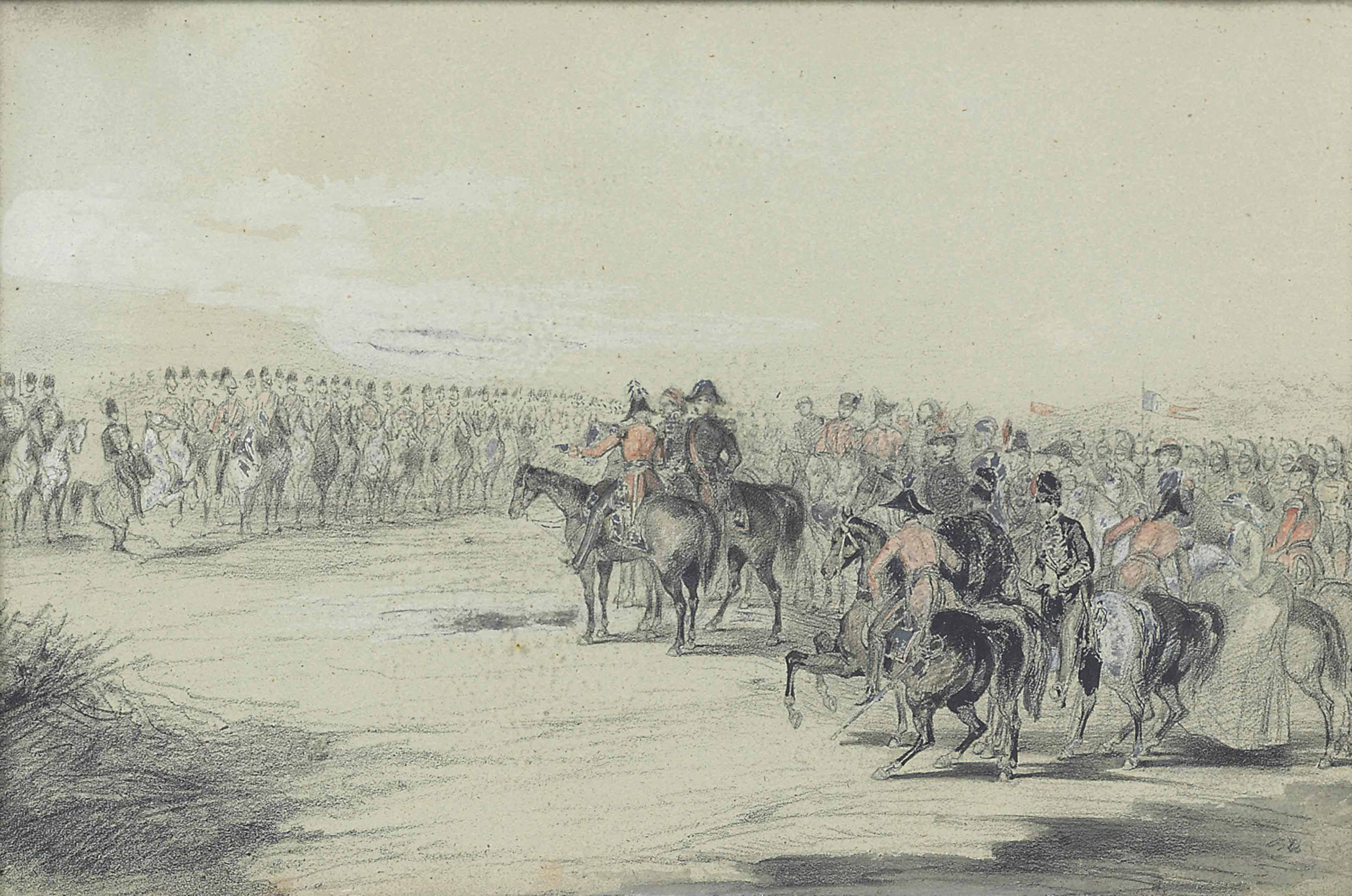 French and British Generals and their staff reviewing British cavalry in the Crimea in honour of Her Majesty, Queen Victoria's birthday