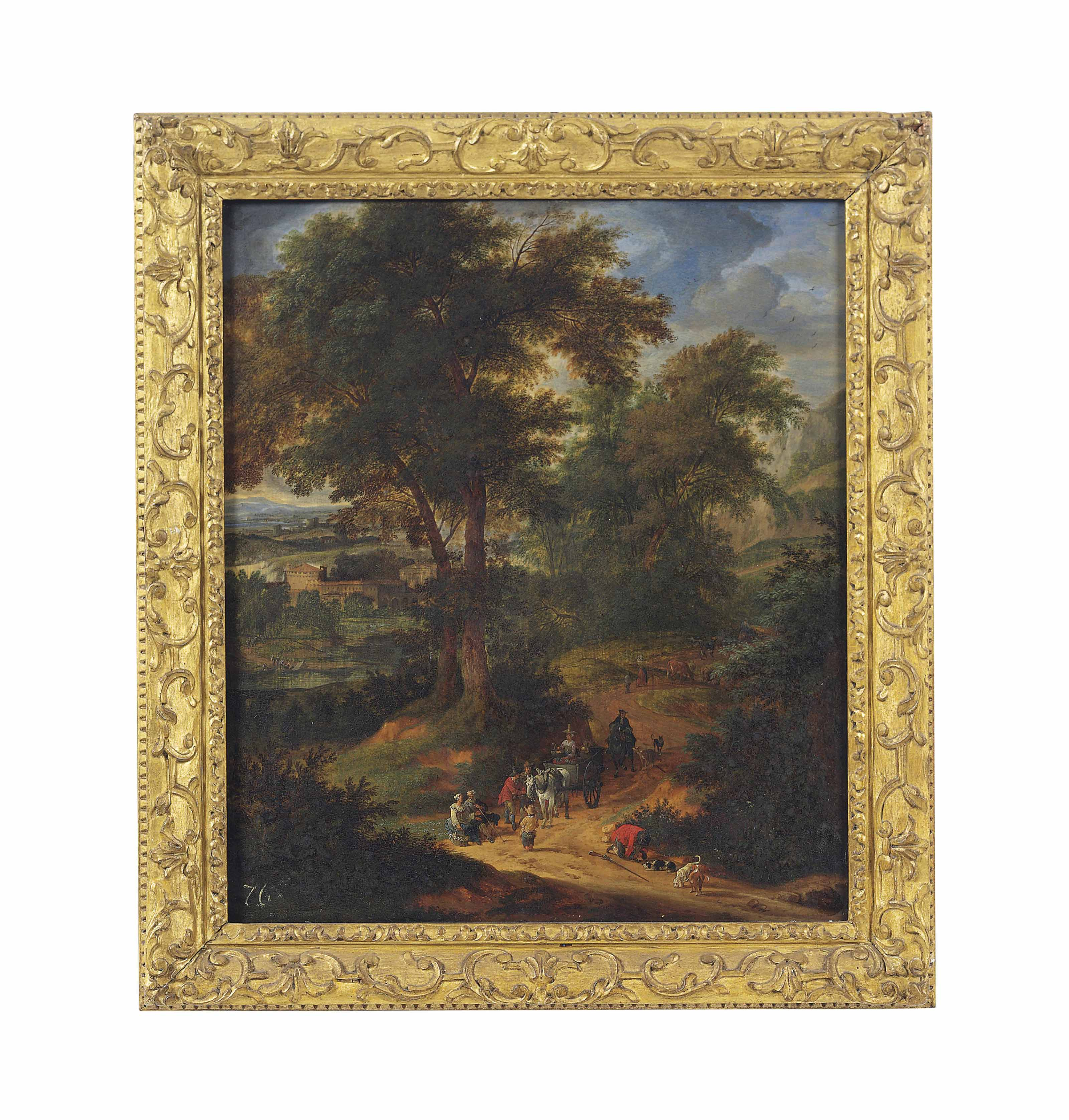 A wooded landscape with travellers on a track, a town beyond