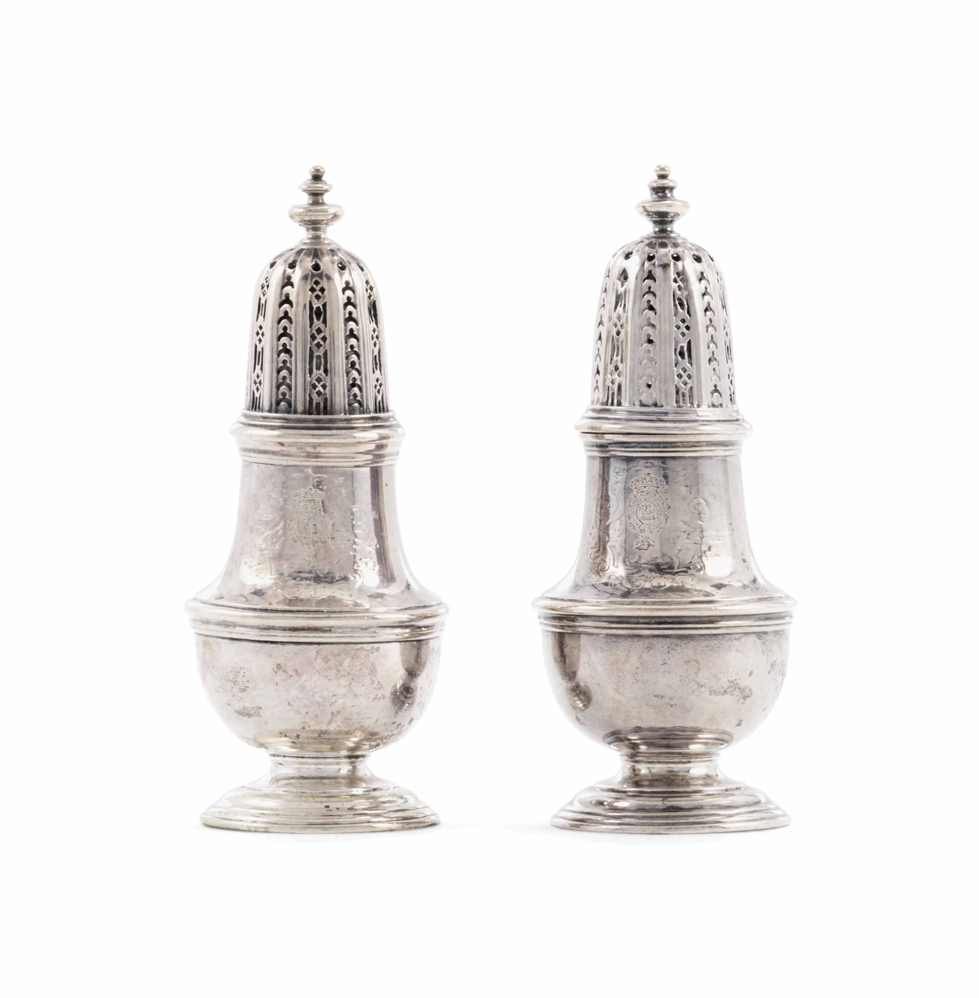 A PAIR OF GEORGE II SILVER CASTERS