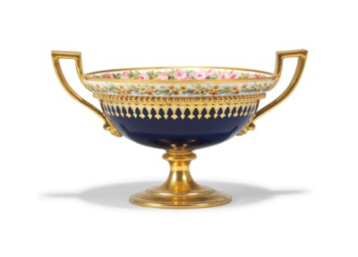 A SEVRES TWO-HANDLED DARK-BLUE