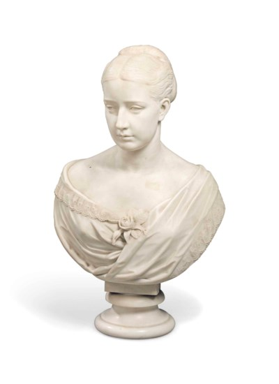 A MID-VICTORIAN WHITE MARBLE B