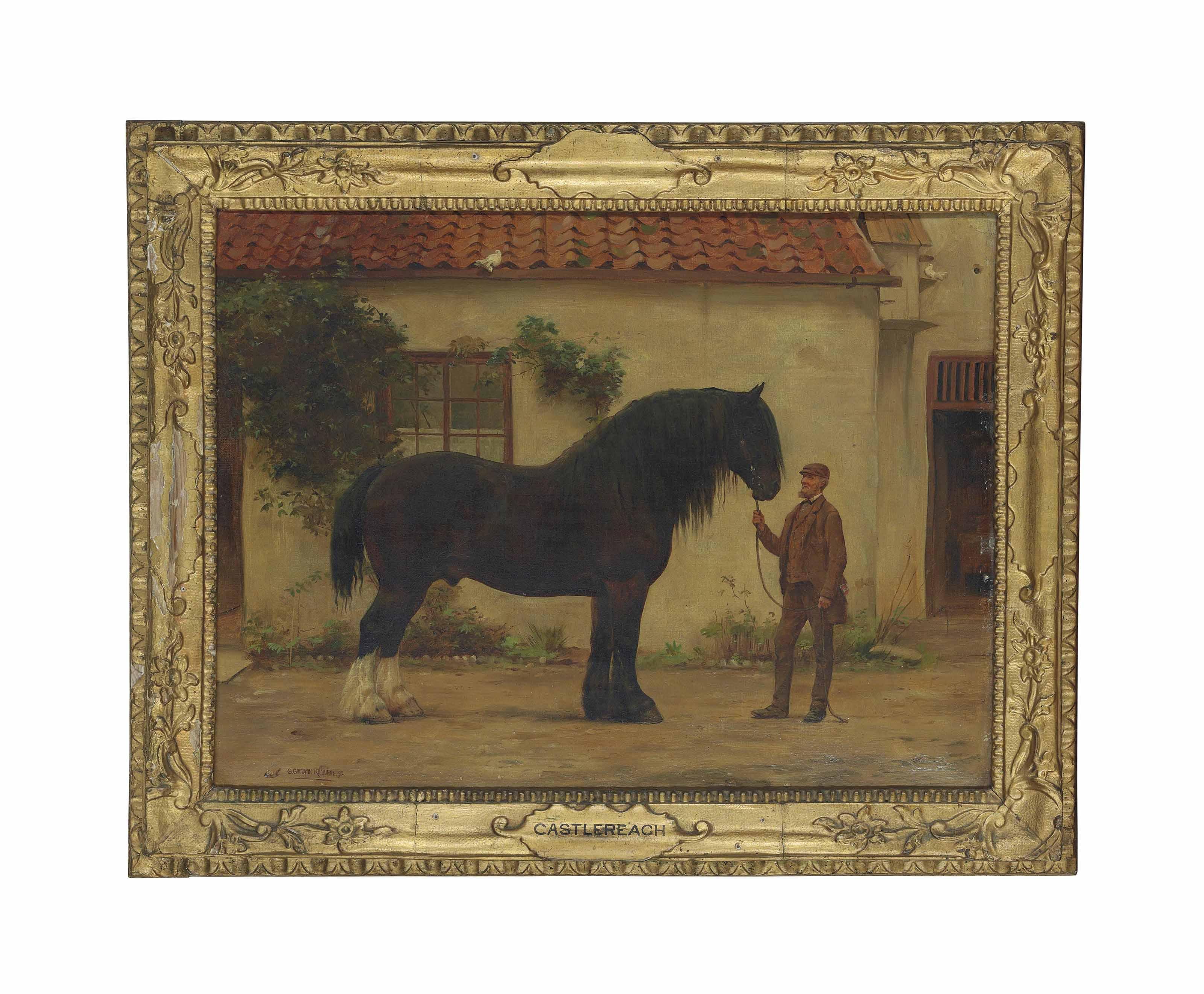 'Castlereagh', a cart horse with a groom