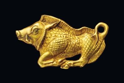 A SCYTHIAN GOLD BOAR BRACTEATE