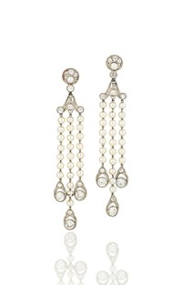 A PAIR OF EARLY 20TH CENTURY PEARL AND DIAMOND EAR PENDANTS, BY J.E. CALDWELL & CO.